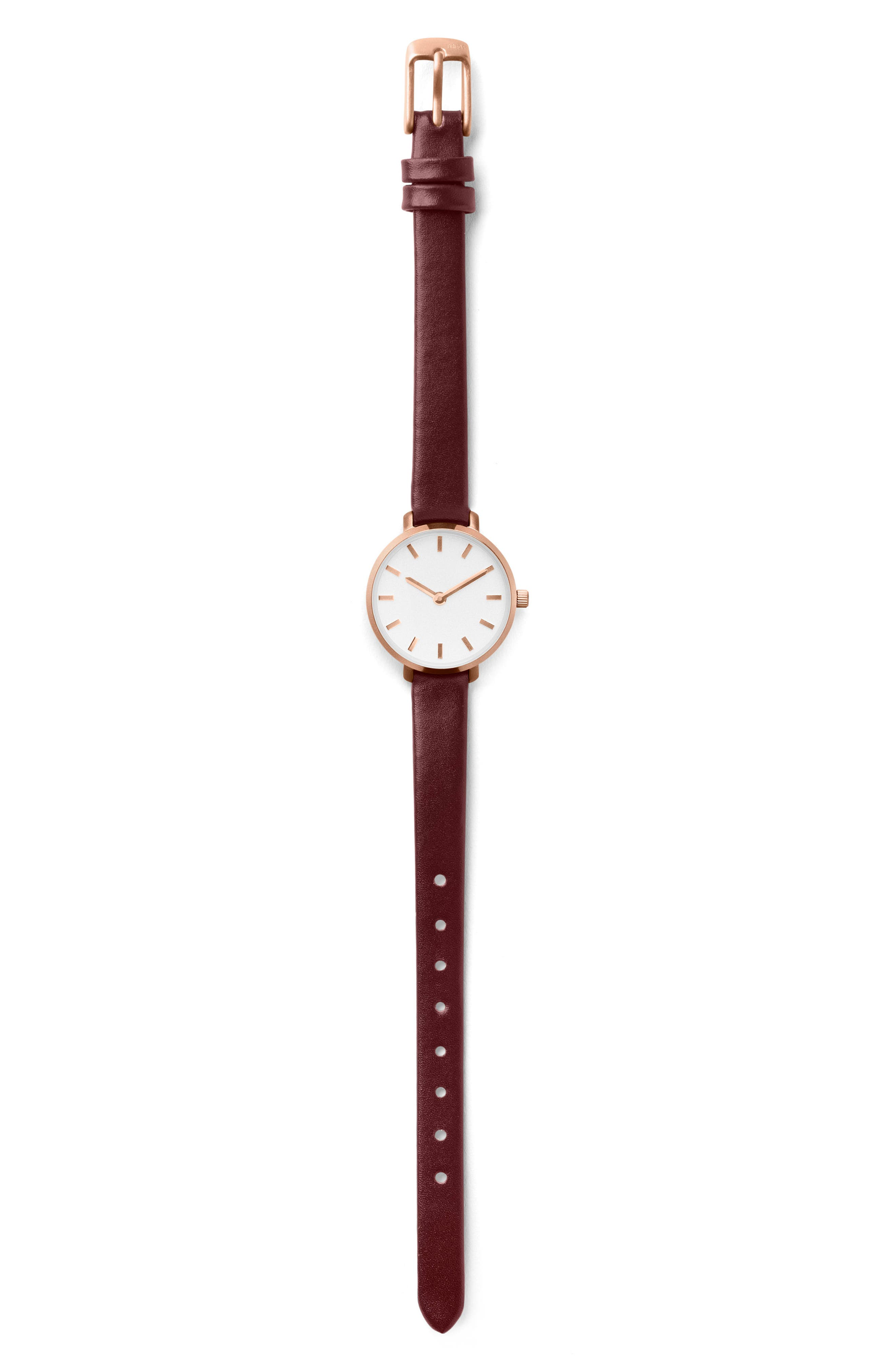 Beverly Round Leather Strap Watch, 26mm,                             Alternate thumbnail 3, color,                             Maroon/ Rose Gold