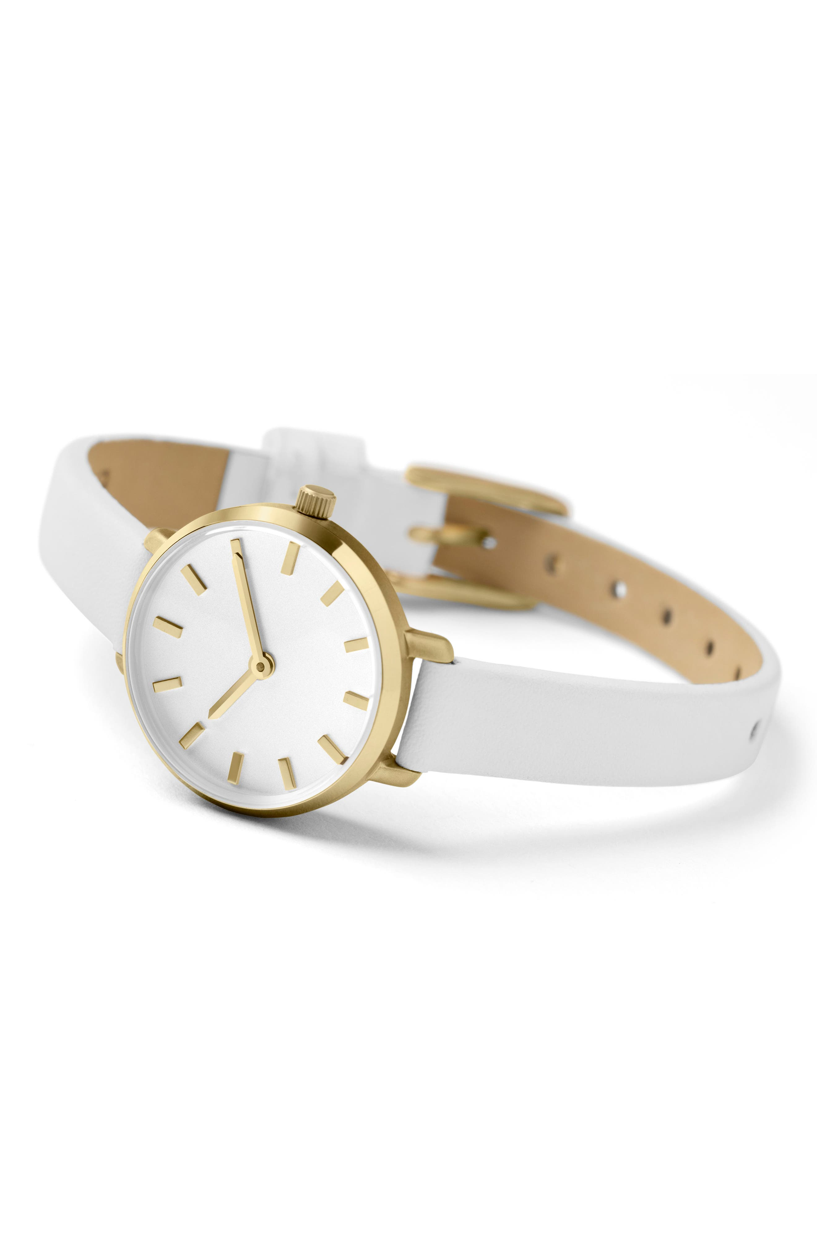 Beverly Round Leather Strap Watch, 26mm,                             Alternate thumbnail 2, color,                             White/ Gold