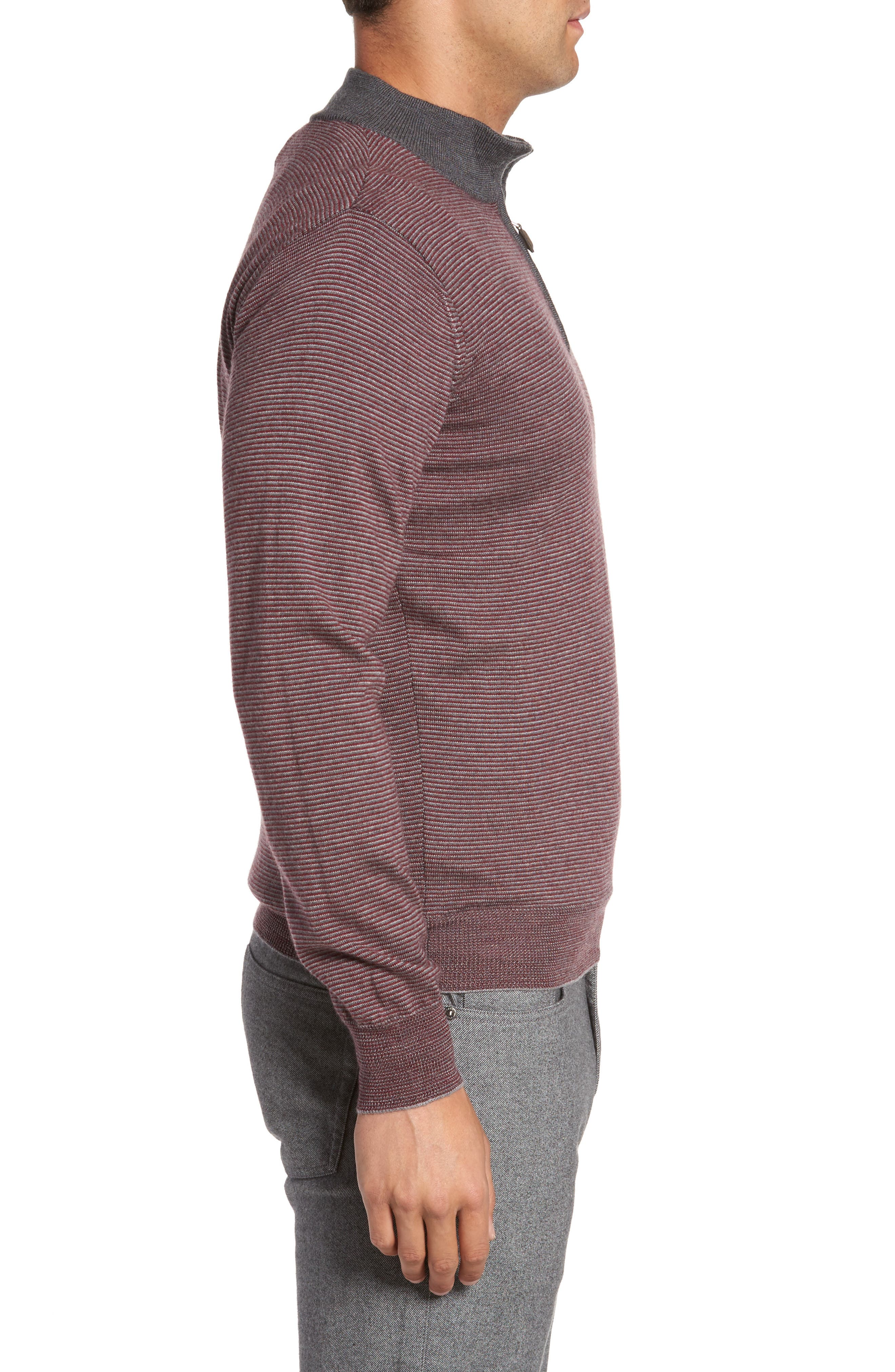 Trichrome Stripe Merino Wool Blend Sweater,                             Alternate thumbnail 3, color,                             Chianti