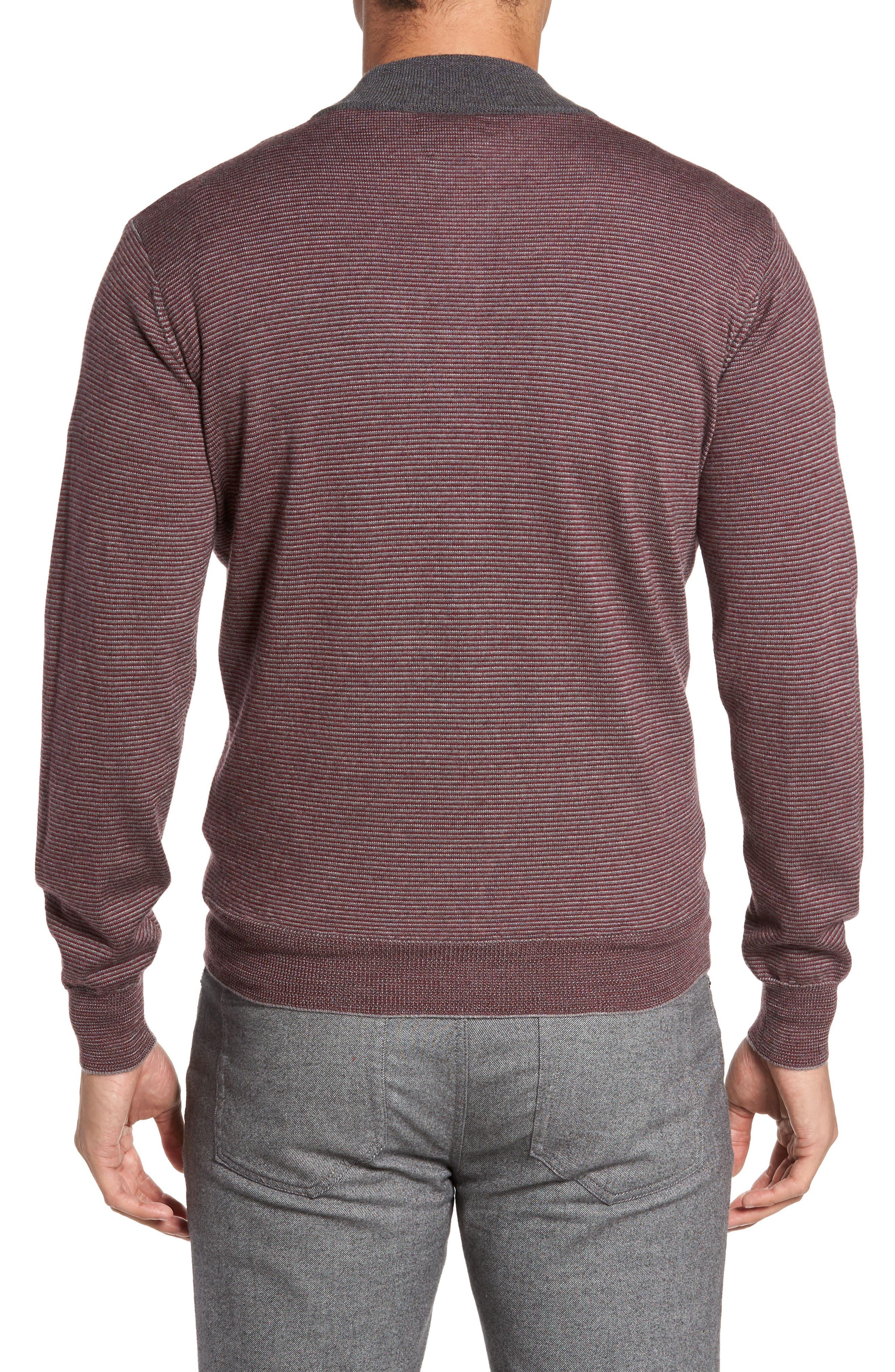 Trichrome Stripe Merino Wool Blend Sweater,                             Alternate thumbnail 2, color,                             Chianti