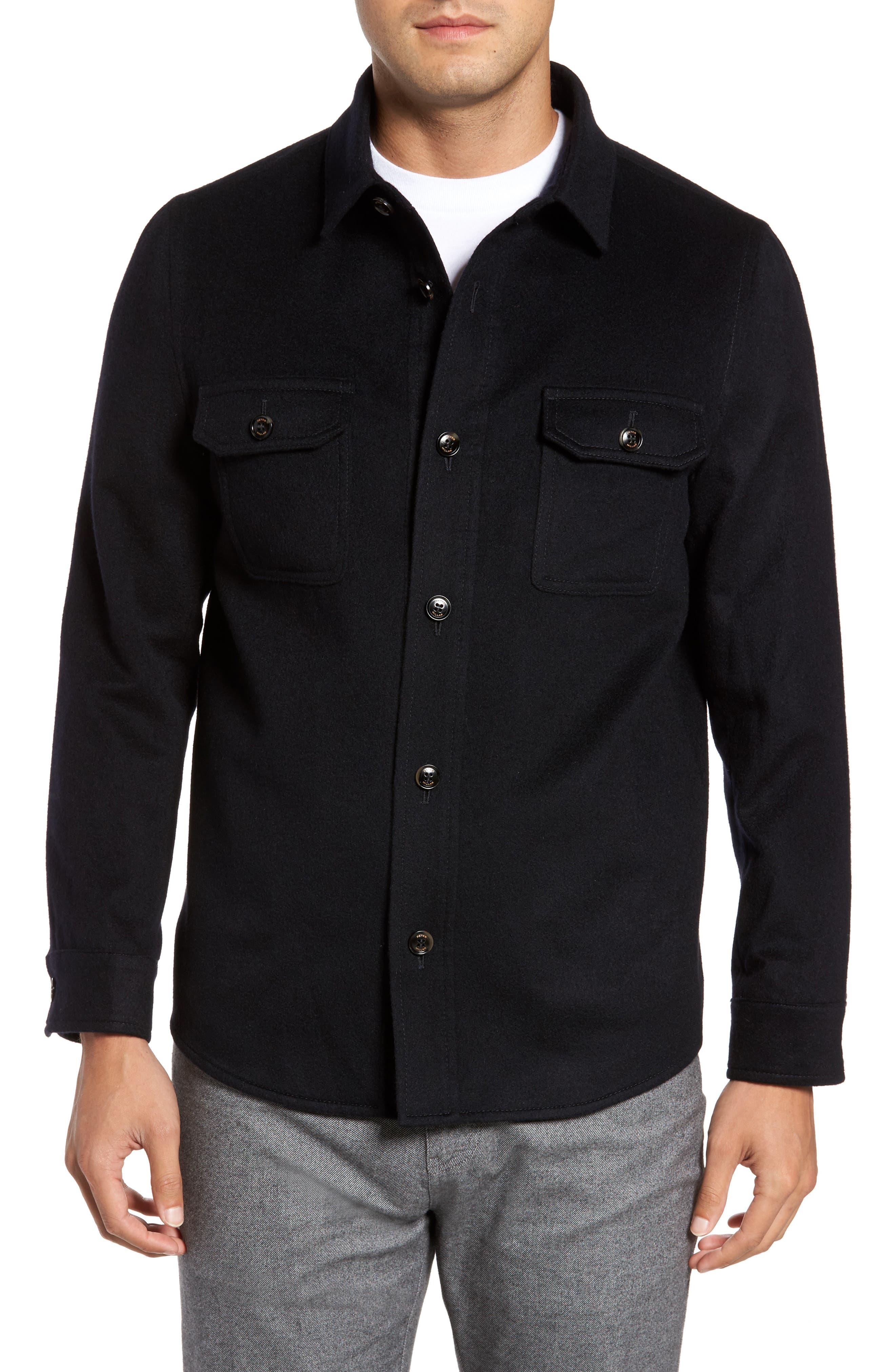 Featherweight Journeyman Cashmere Shirt Jacket,                         Main,                         color, Blue