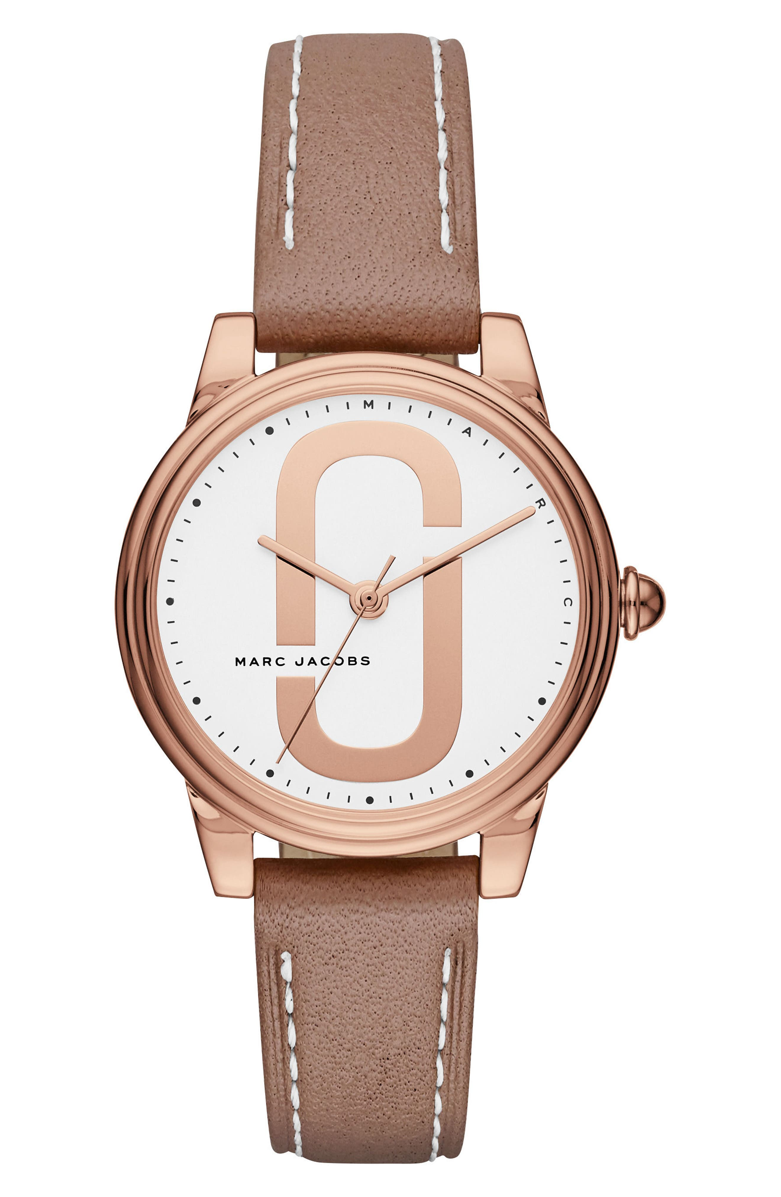 Corie Leather Strap Watch, 36mm,                         Main,                         color, Brown/ White/ Rose Gold