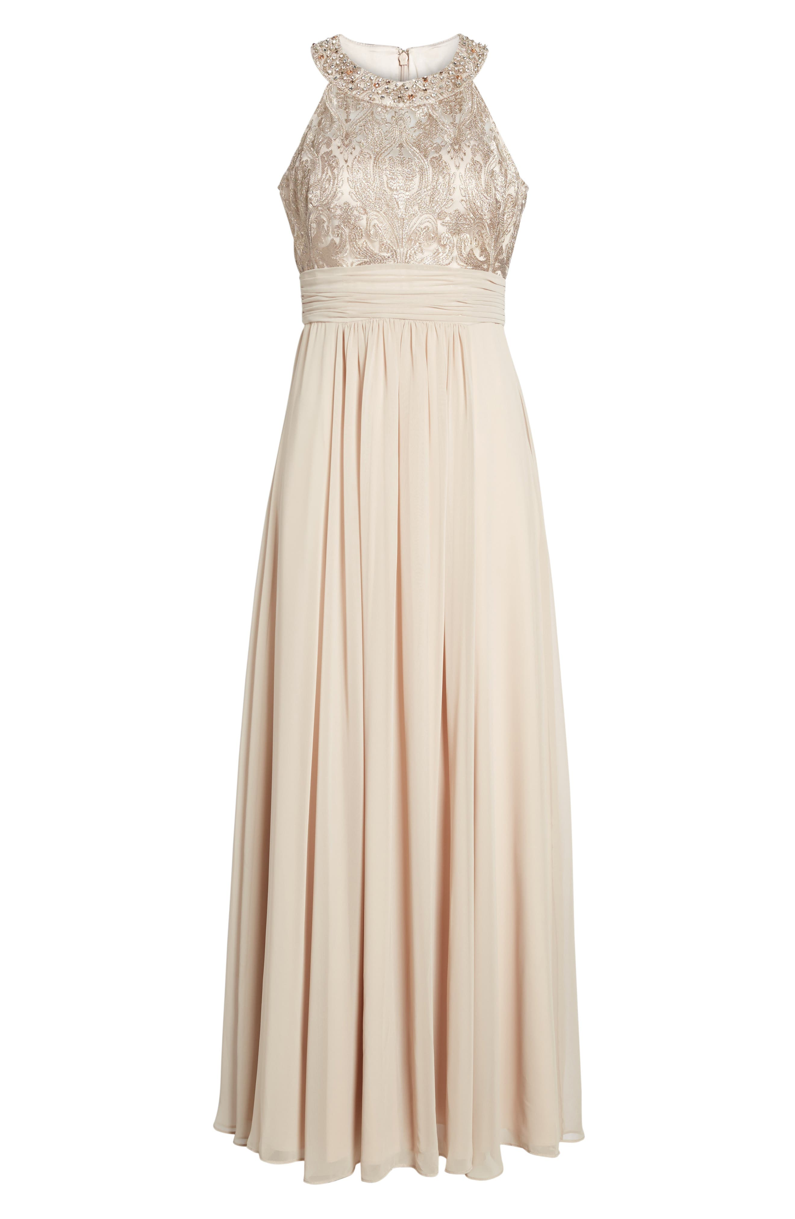 Lace Bodice Gown,                             Alternate thumbnail 7, color,                             Beige