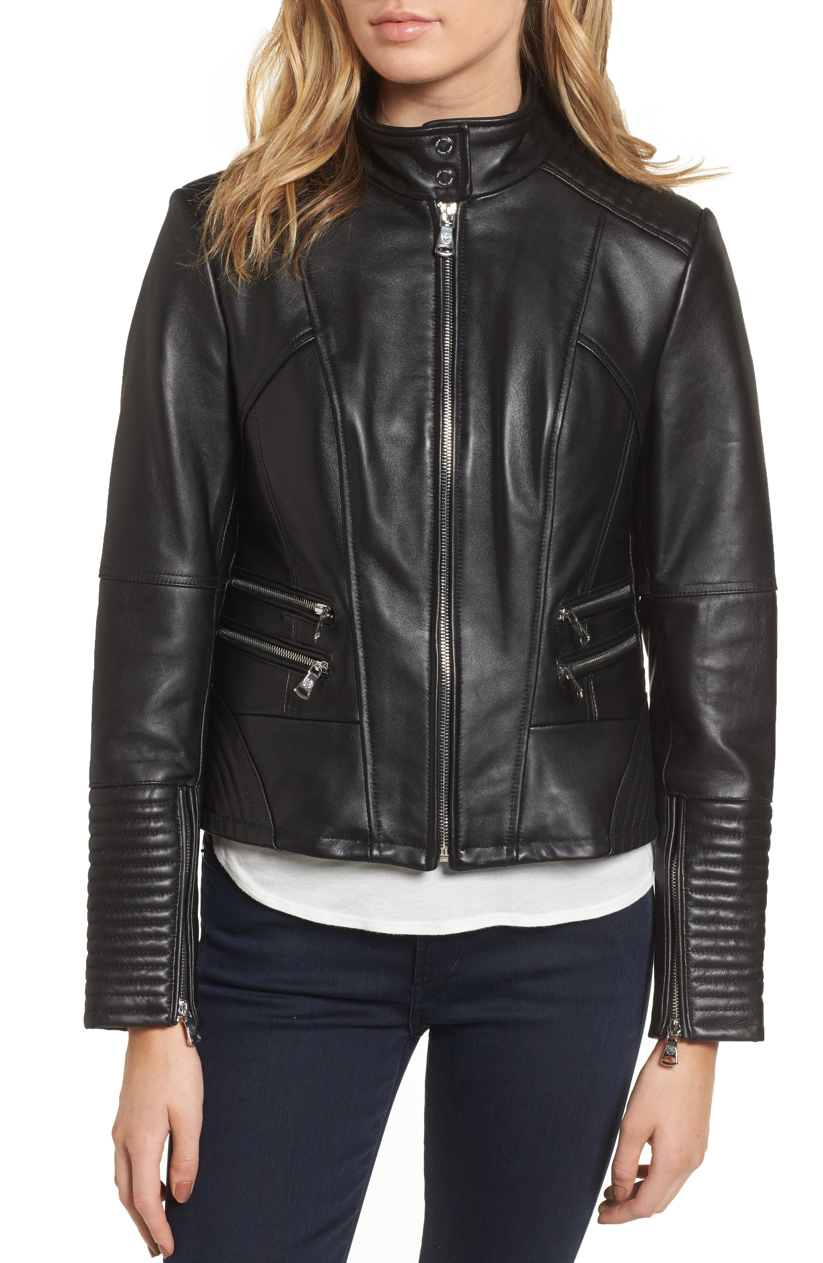 Alternate Image 4  - Vince Camuto Double Zip Leather Moto Jacket