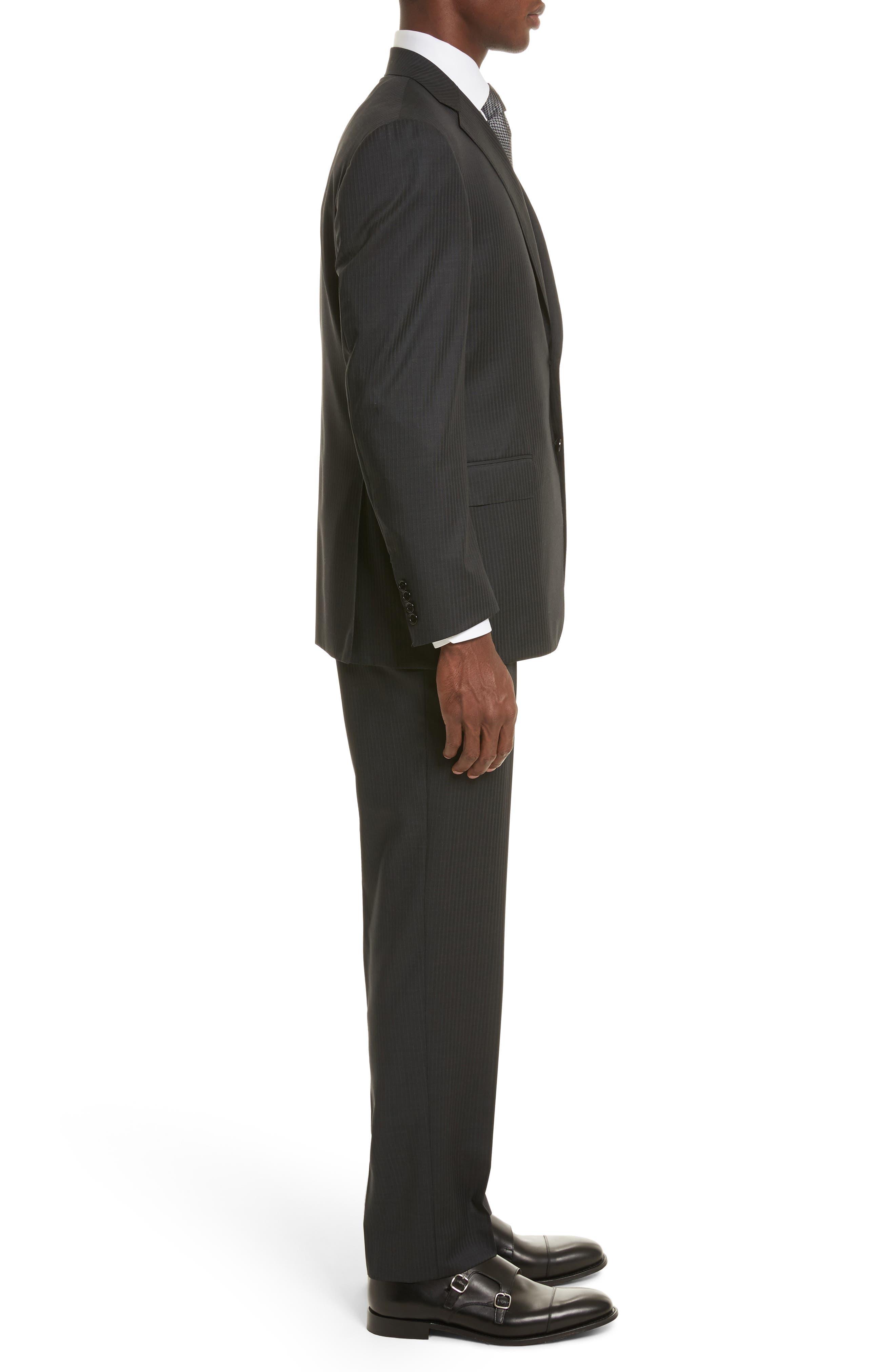 Classic Fit Stripe Wool Suit,                             Alternate thumbnail 3, color,                             Grey