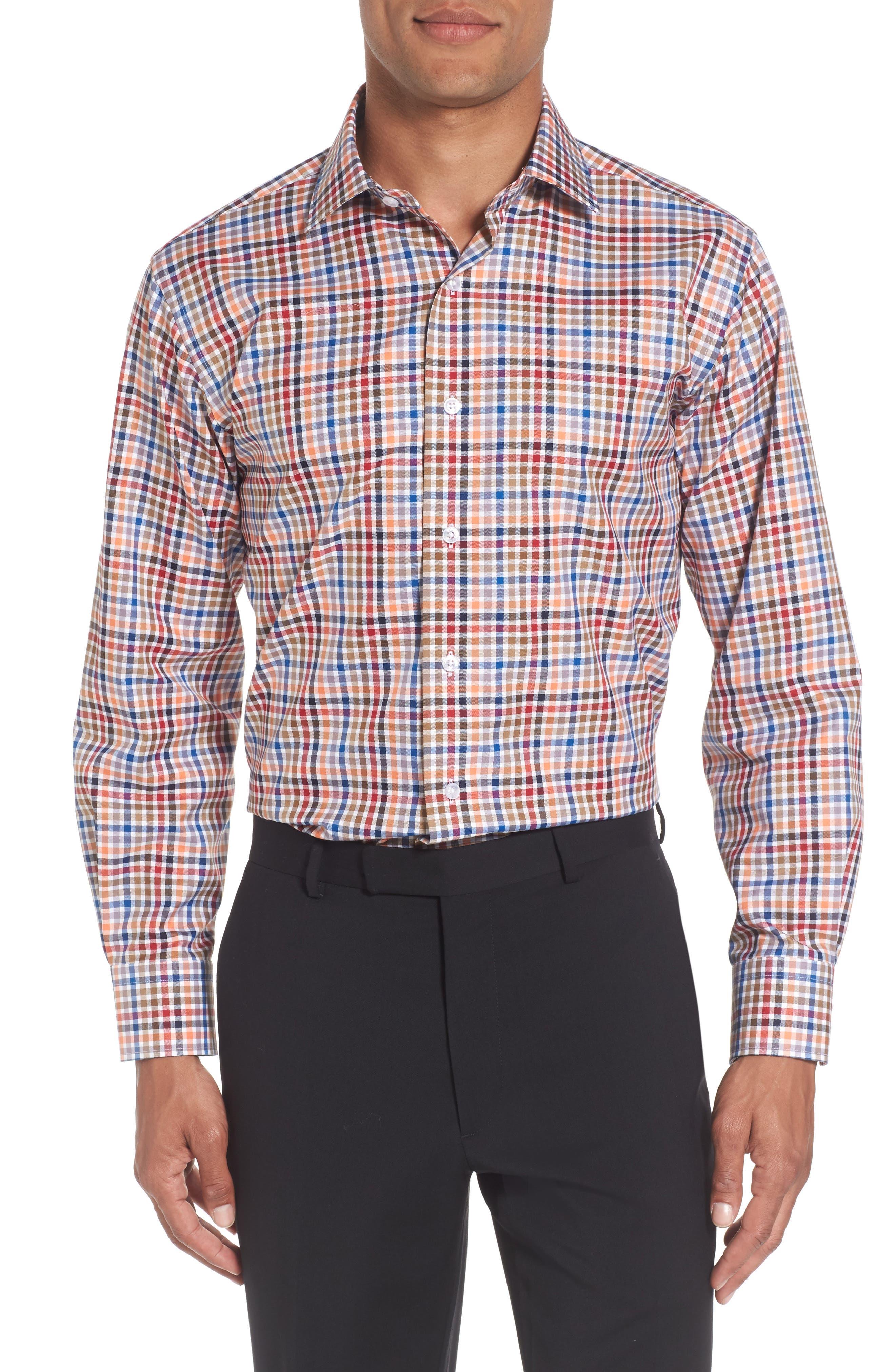 Trim Fit Check Dress Shirt,                         Main,                         color, Orange/ Navy