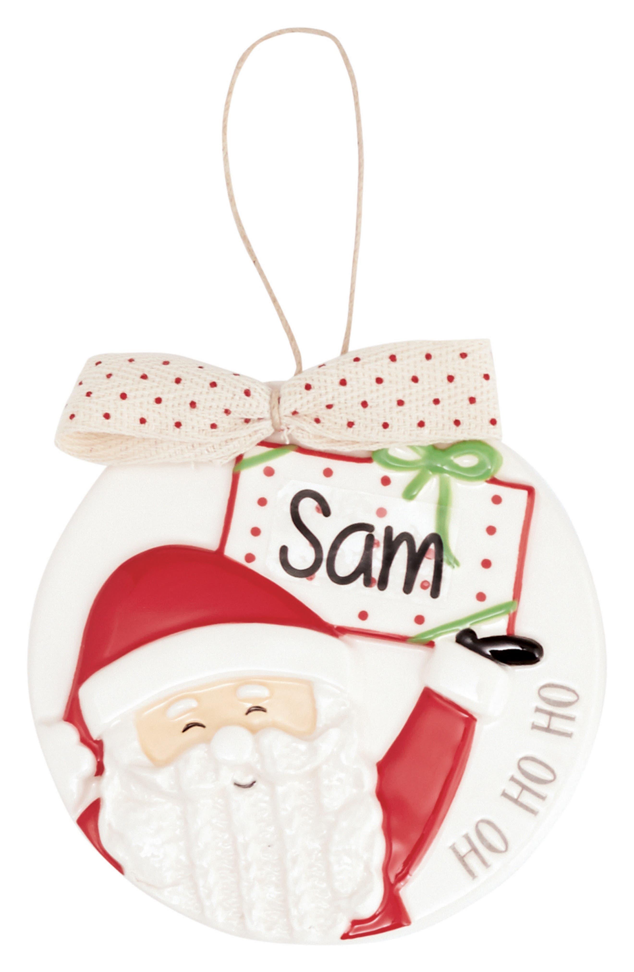 Santa Ornament with Personalization Sticker,                         Main,                         color, White/ Red