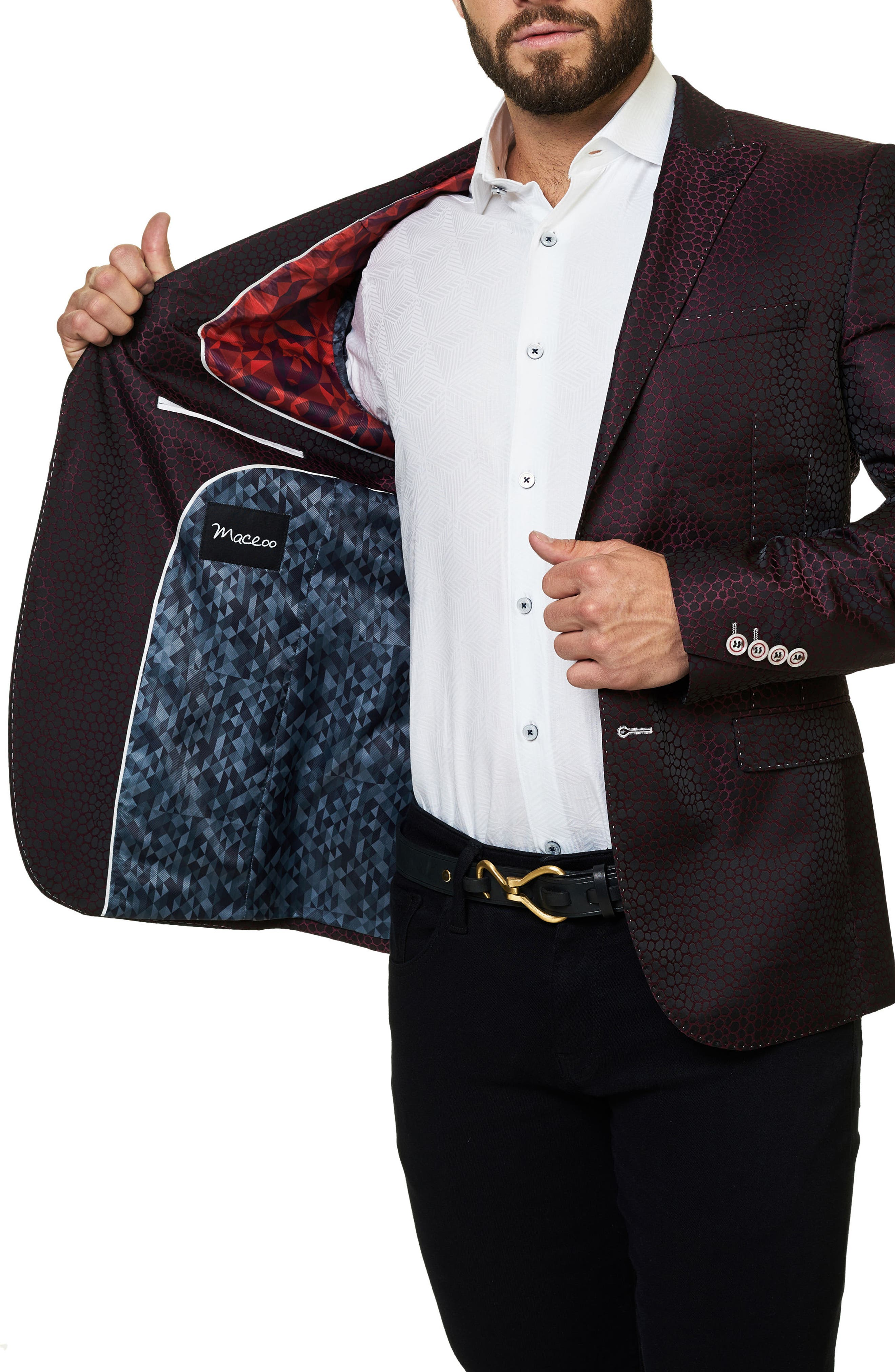 Alternate Image 3  - Maceoo Elegance Jacquard Sport Coat