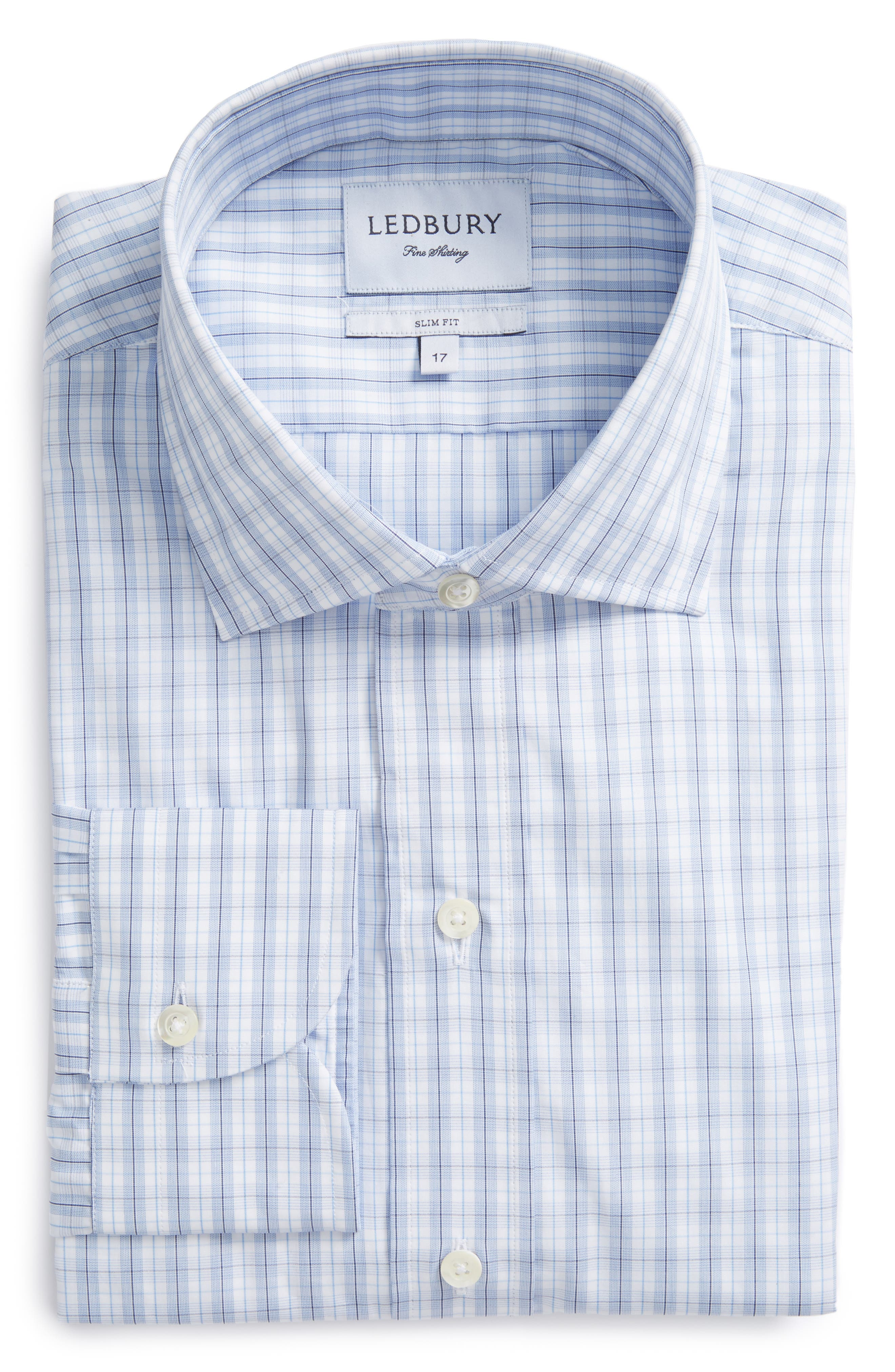 Slim Fit Plaid Dress Shirt,                             Main thumbnail 1, color,                             Light Blue