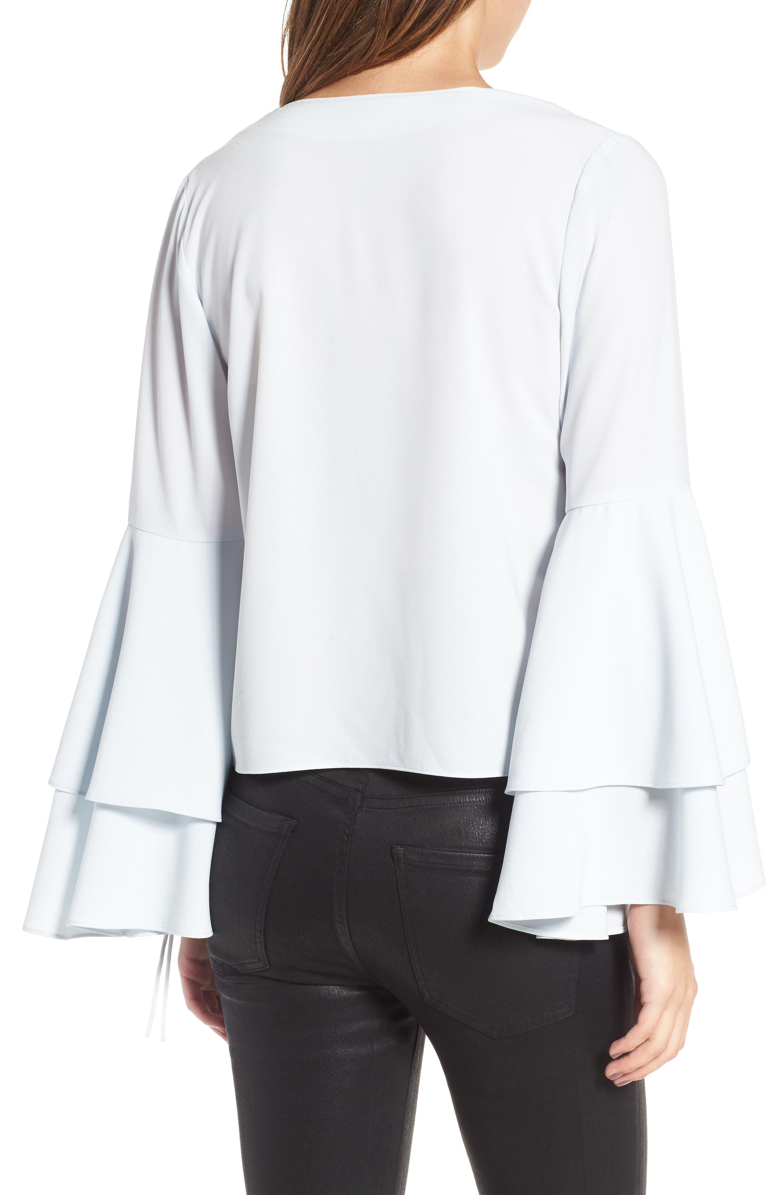 Ruffle Bell Sleeve Top,                             Alternate thumbnail 2, color,                             Blue Flow