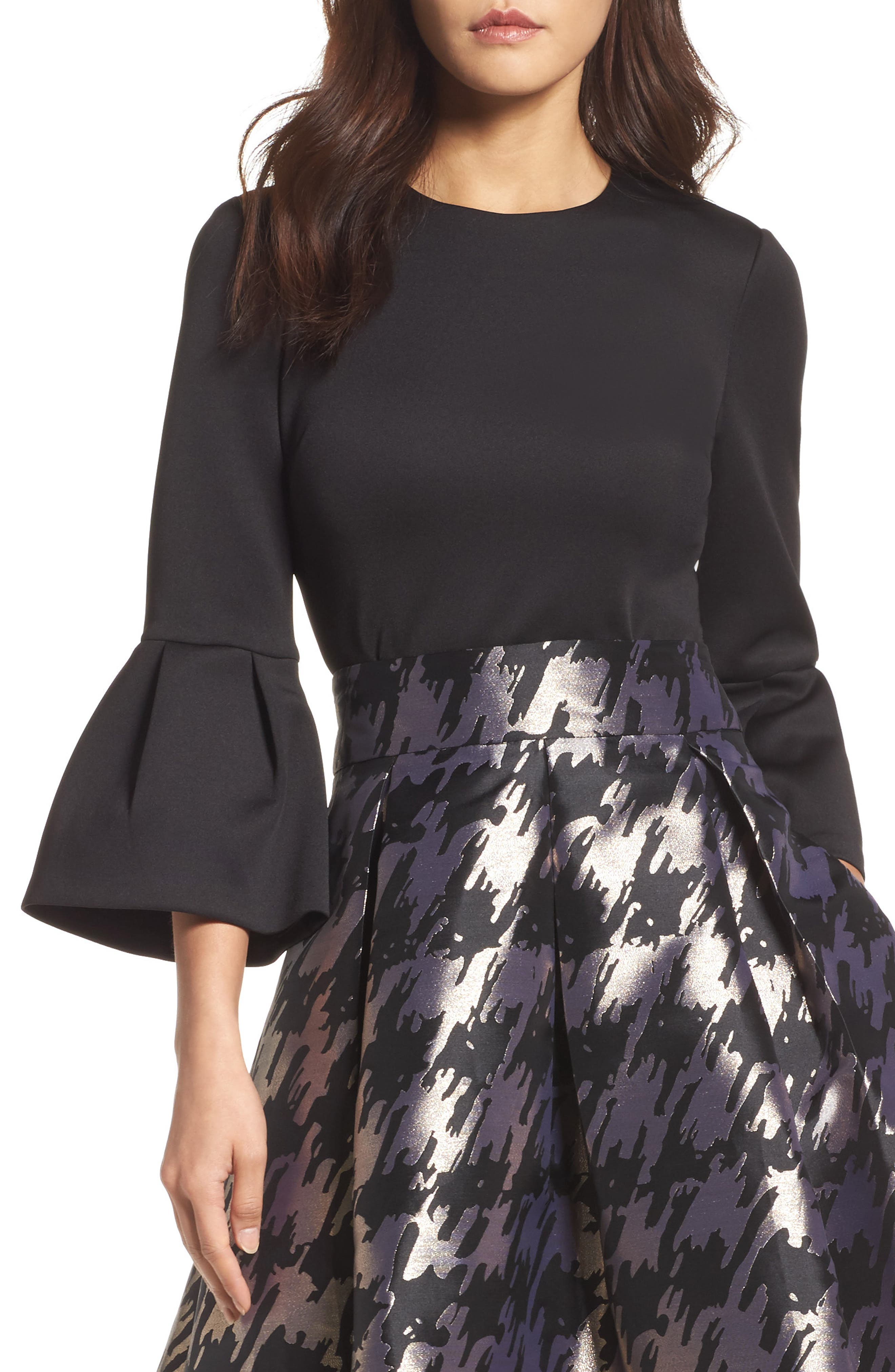 Bell Sleeve Top,                         Main,                         color, Black