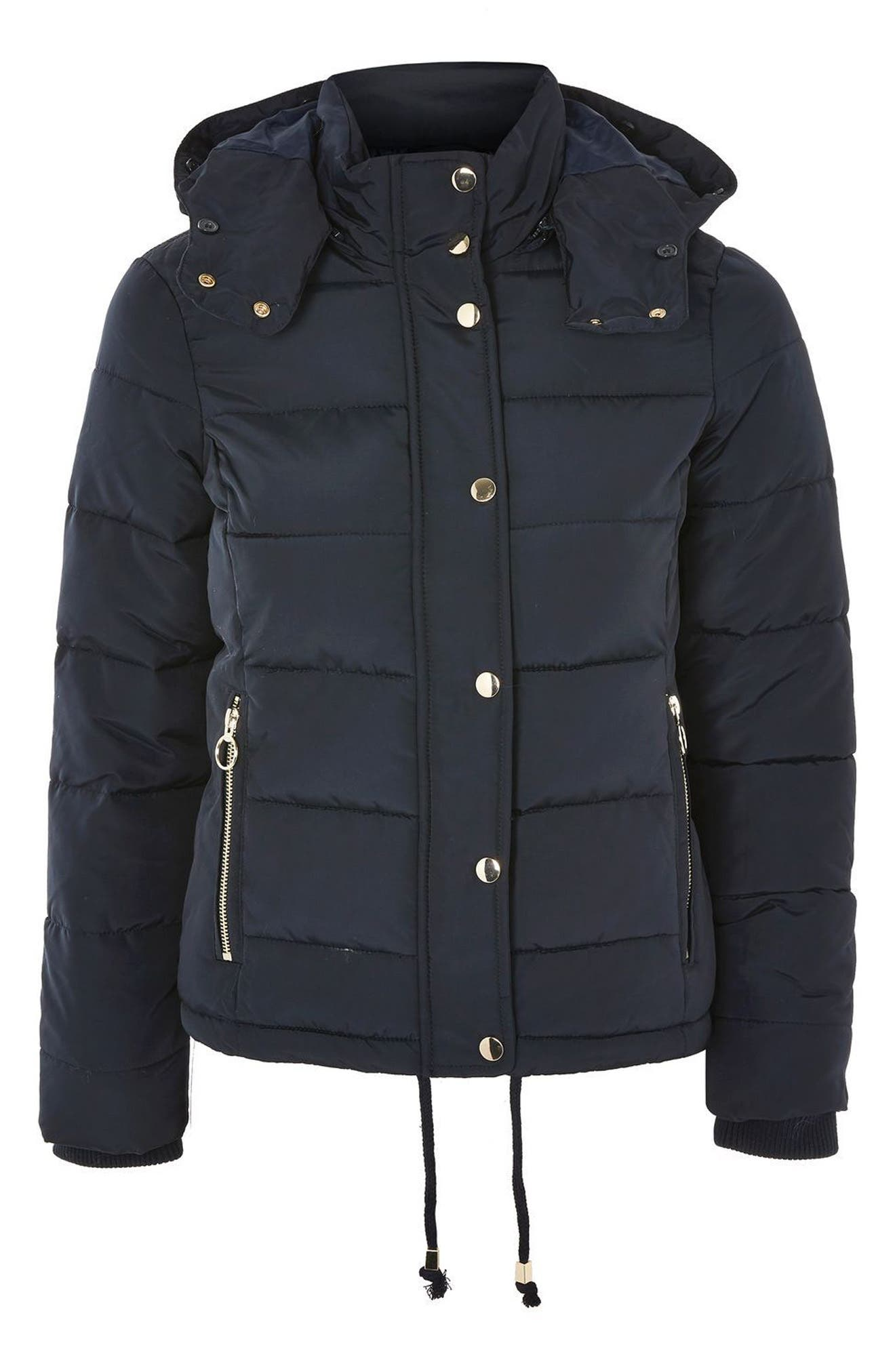 Alternate Image 4  - Topshop Nancy Quilted Puffer Jacket with Faux Fur Trim