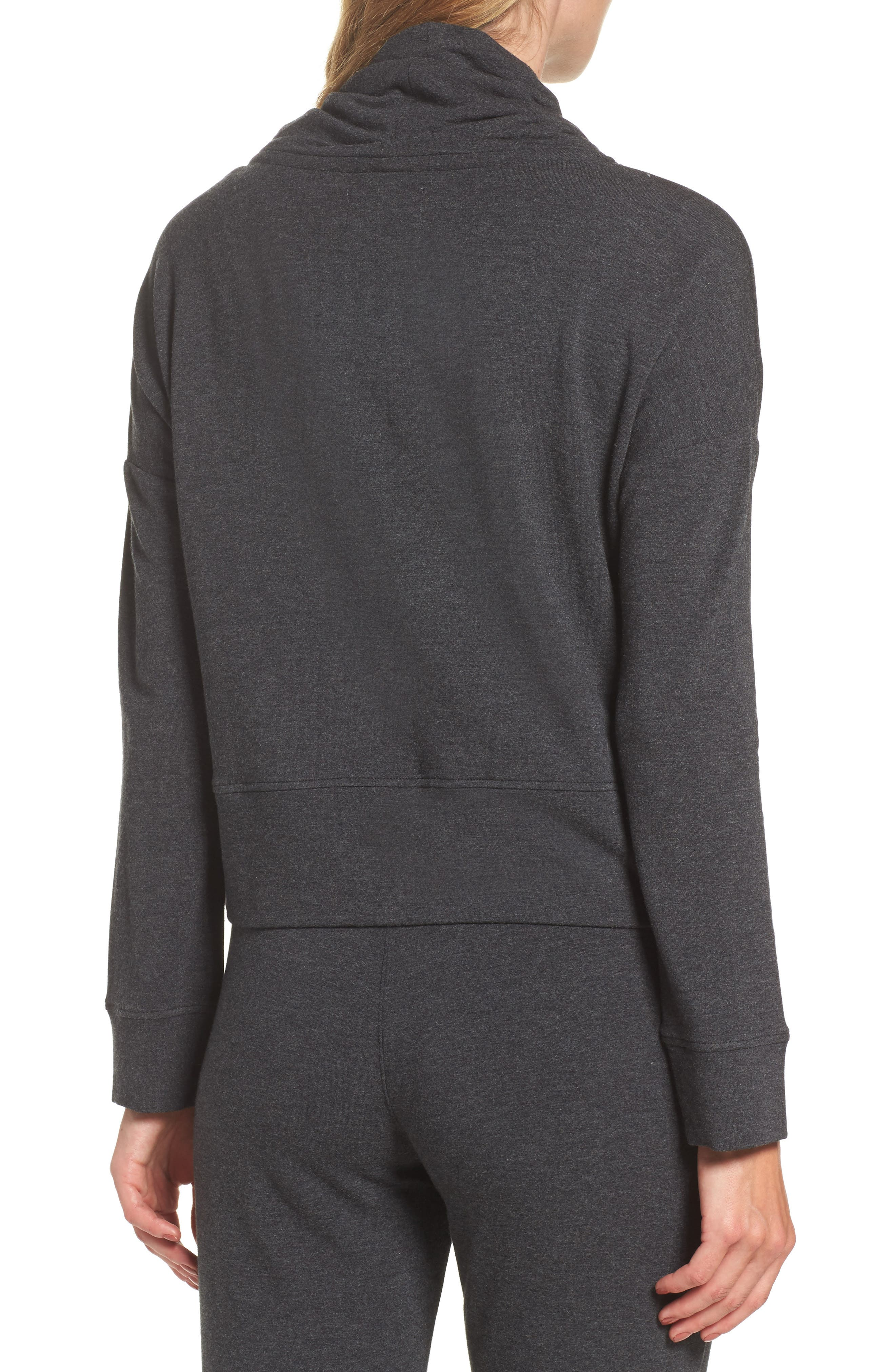Funnel Neck Crop Sweatshirt,                             Alternate thumbnail 2, color,                             Black Heather