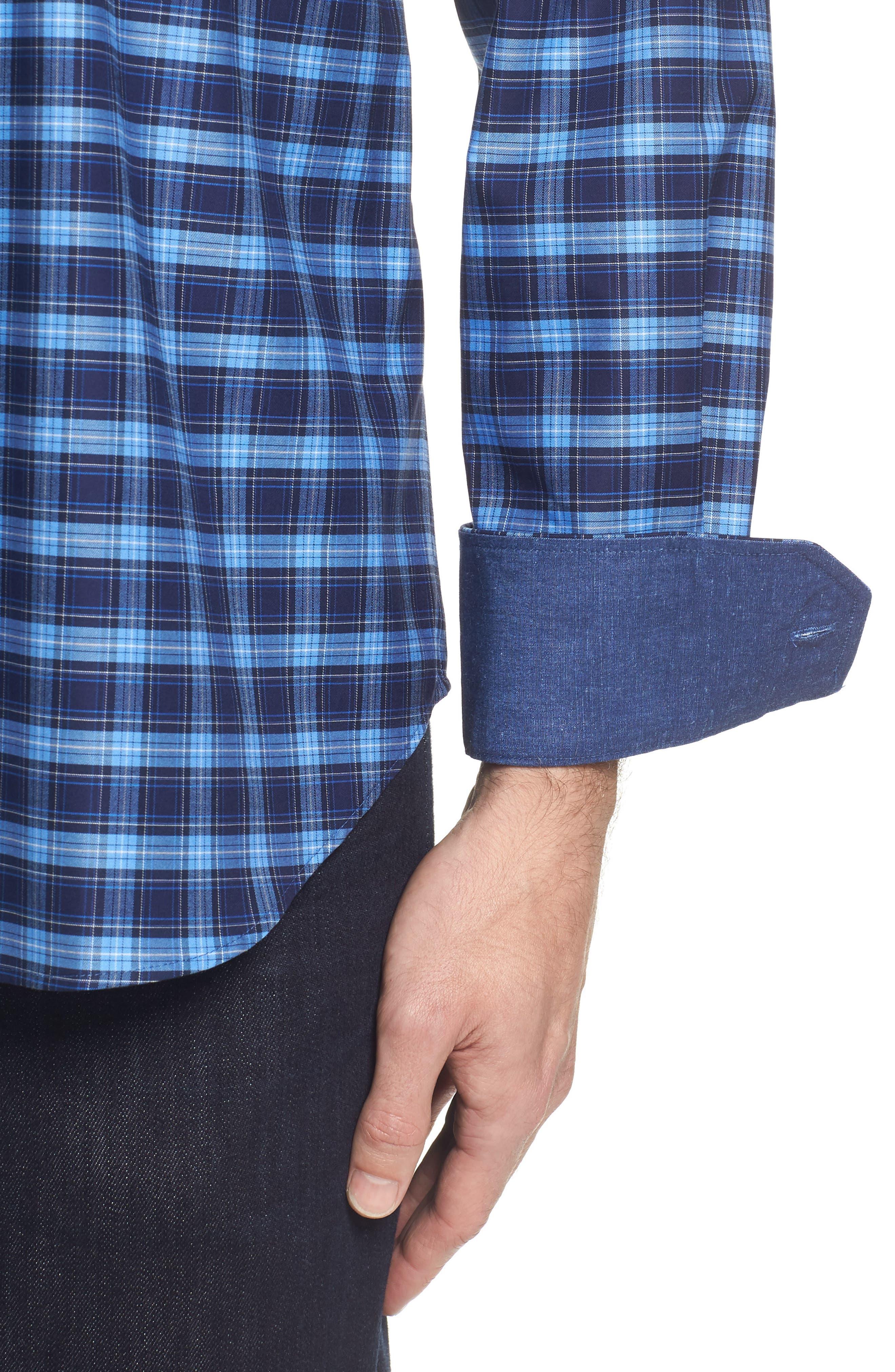 Classic Fit Check Sport Shirt,                             Alternate thumbnail 4, color,                             Navy