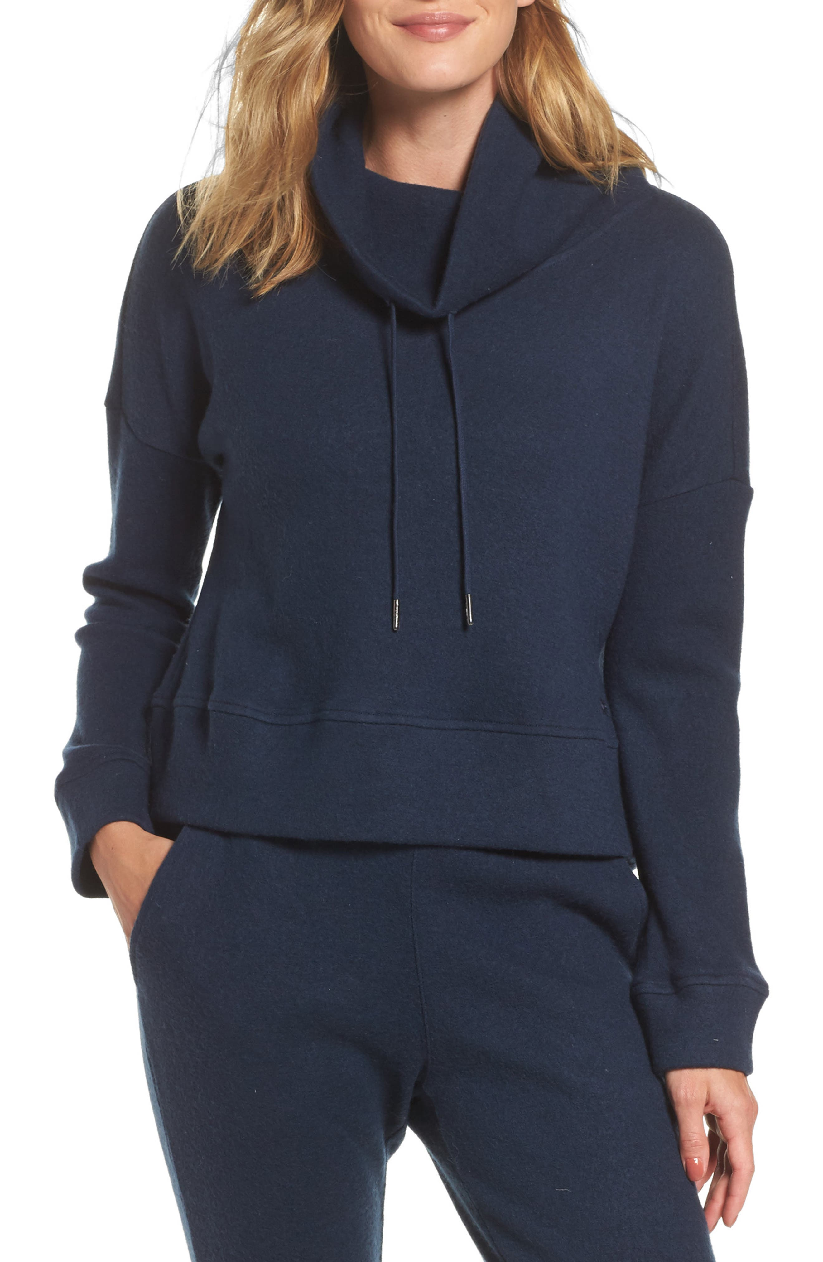 Funnel Neck Crop Merino Wool Sweatshirt,                         Main,                         color, Navy Heather
