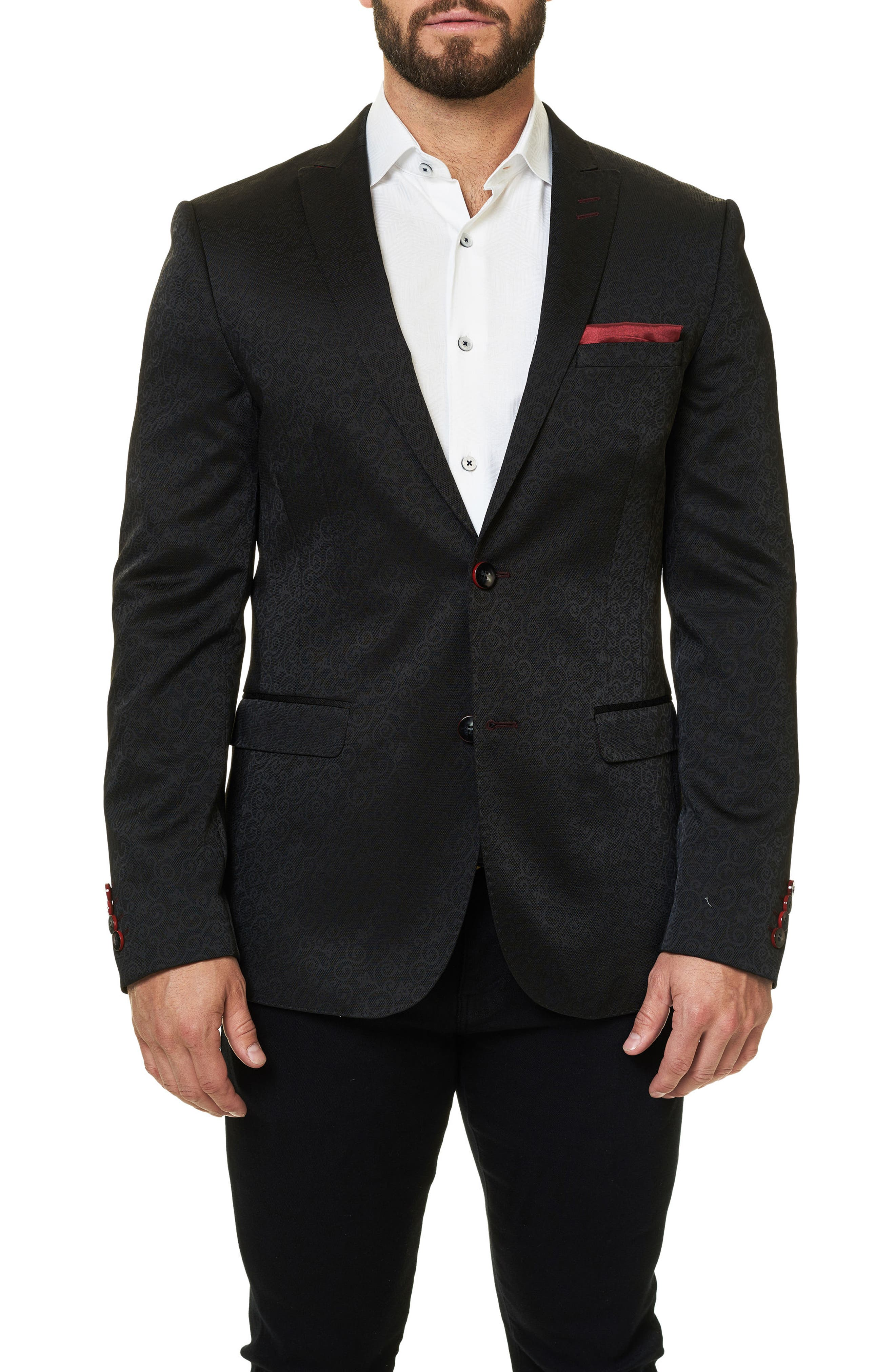 Descartes Jacquard Sport Coat,                         Main,                         color, Solid Black
