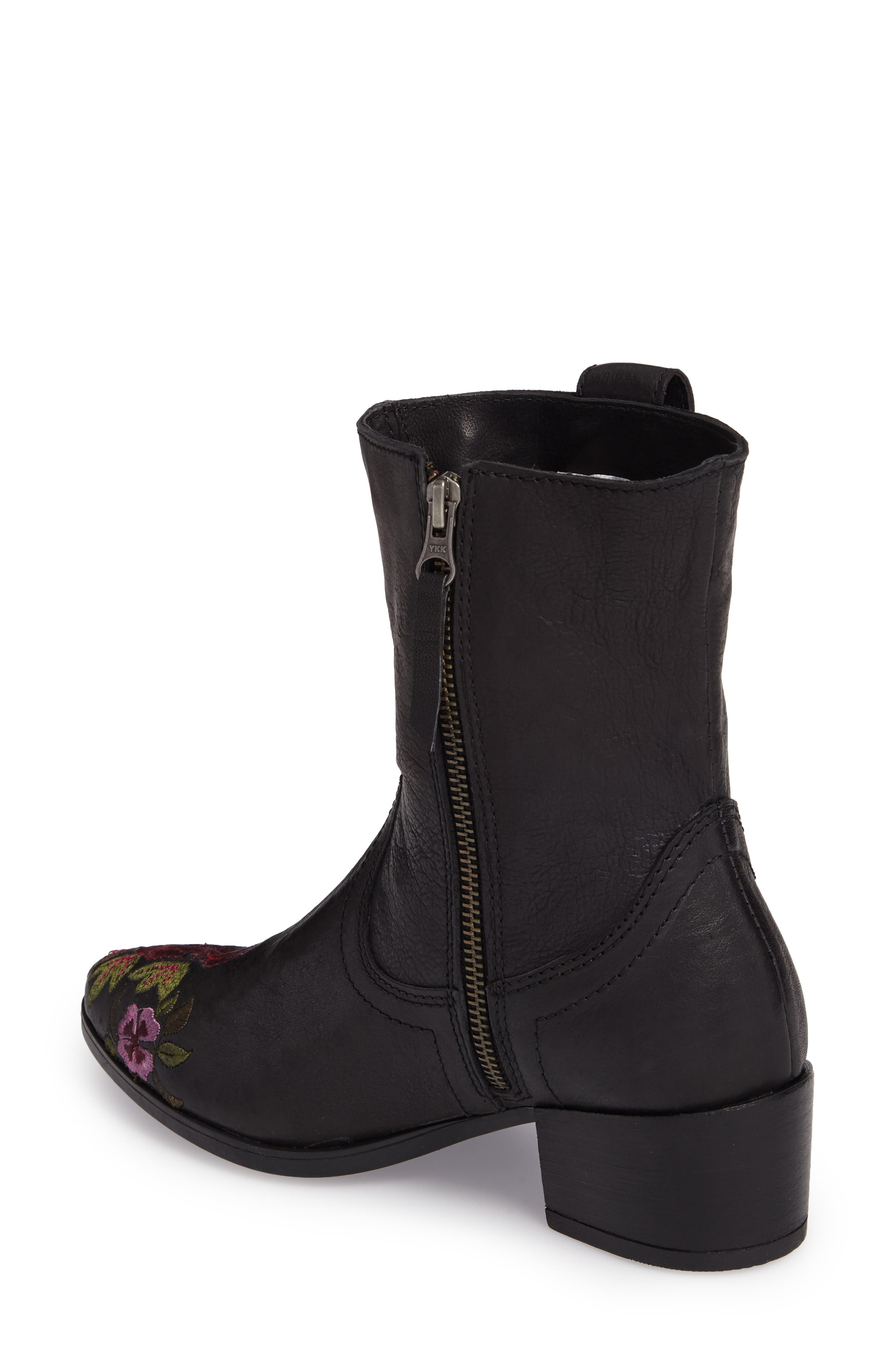 Shallot Floral Embroidered Bootie,                             Alternate thumbnail 2, color,                             Black Leather