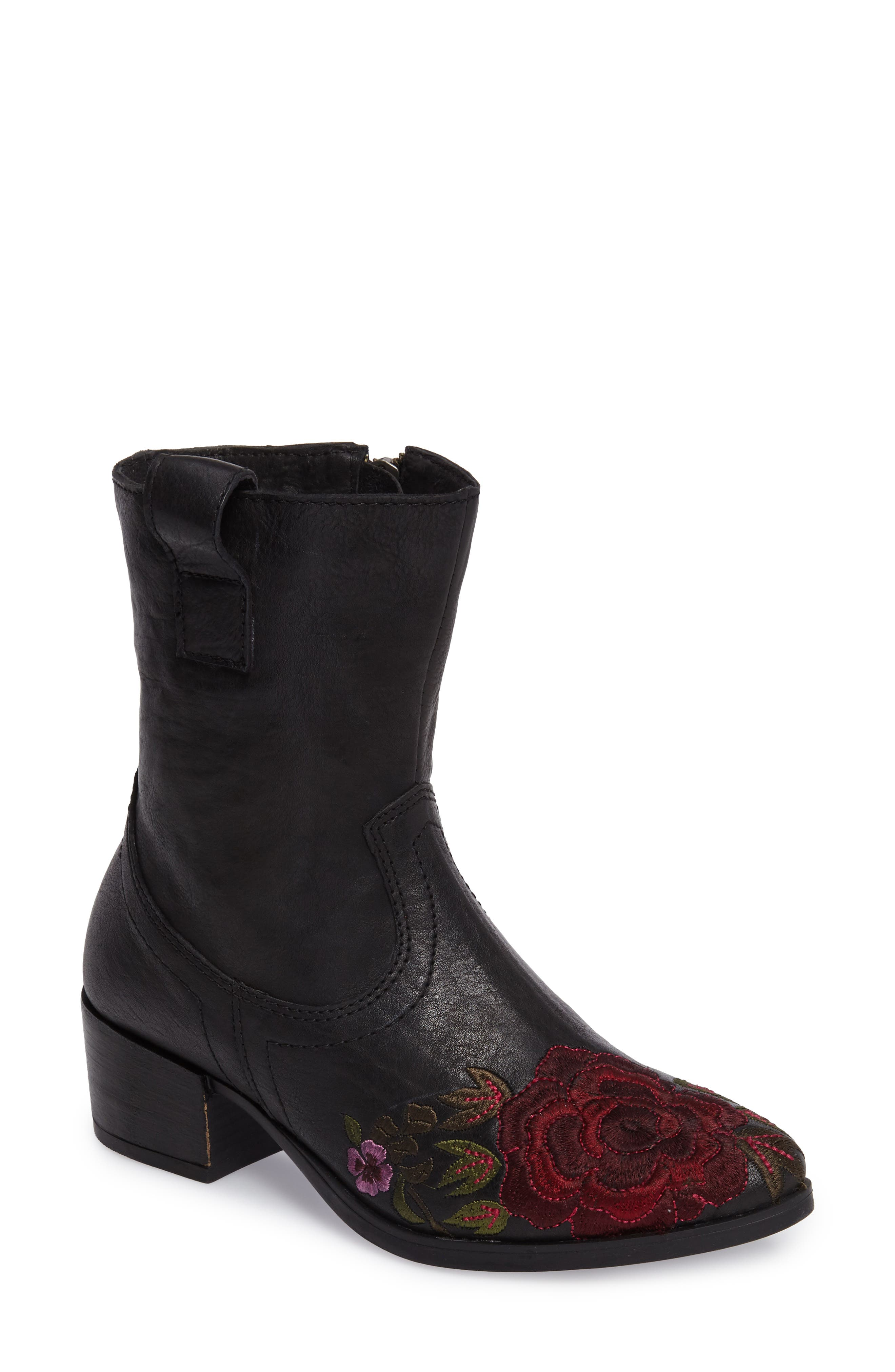 Shallot Floral Embroidered Bootie,                         Main,                         color, Black Leather