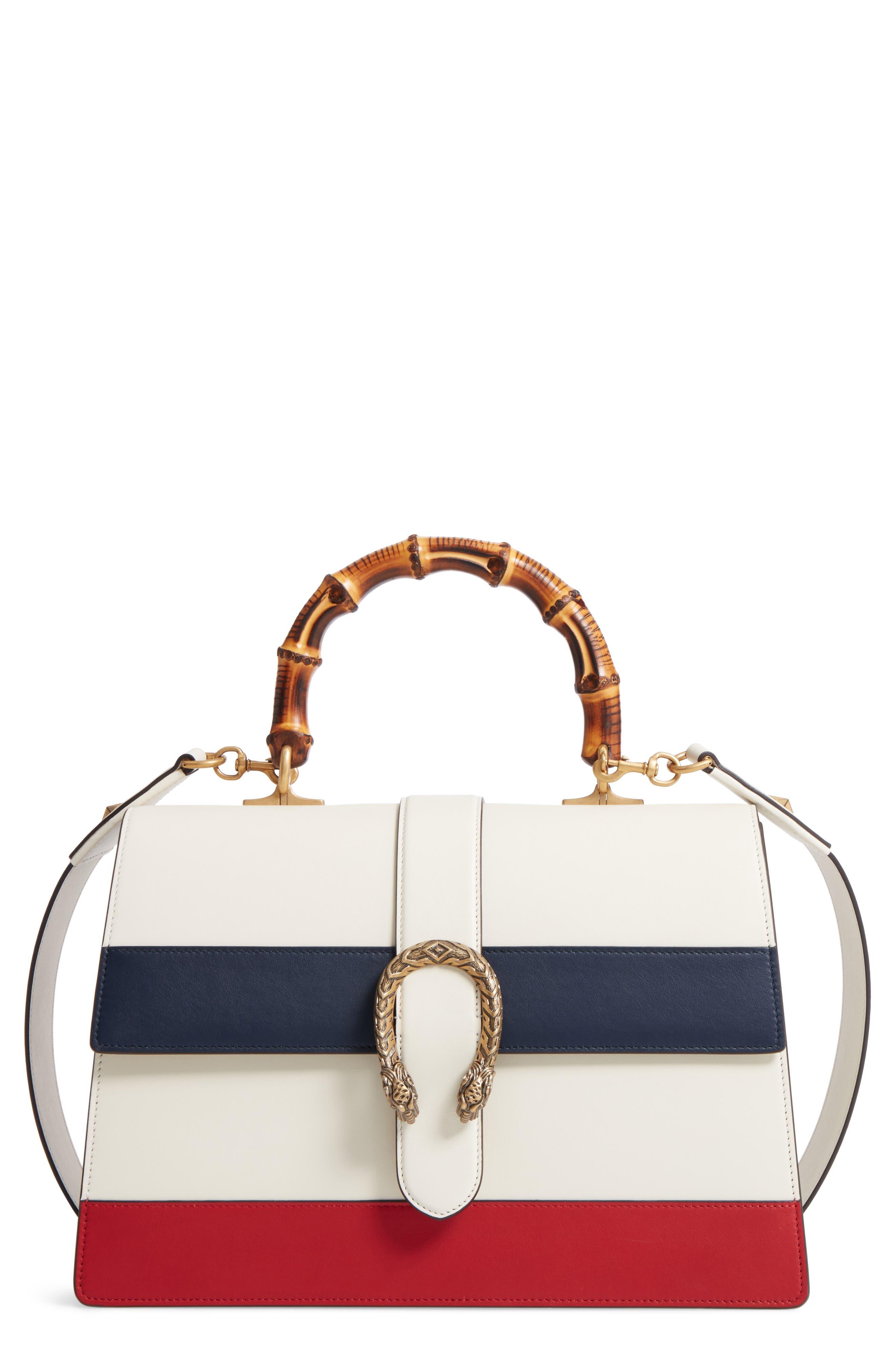 Large Dionysus Top Handle Leather Shoulder Bag,                         Main,                         color, Mystic White/ Blue/ Red