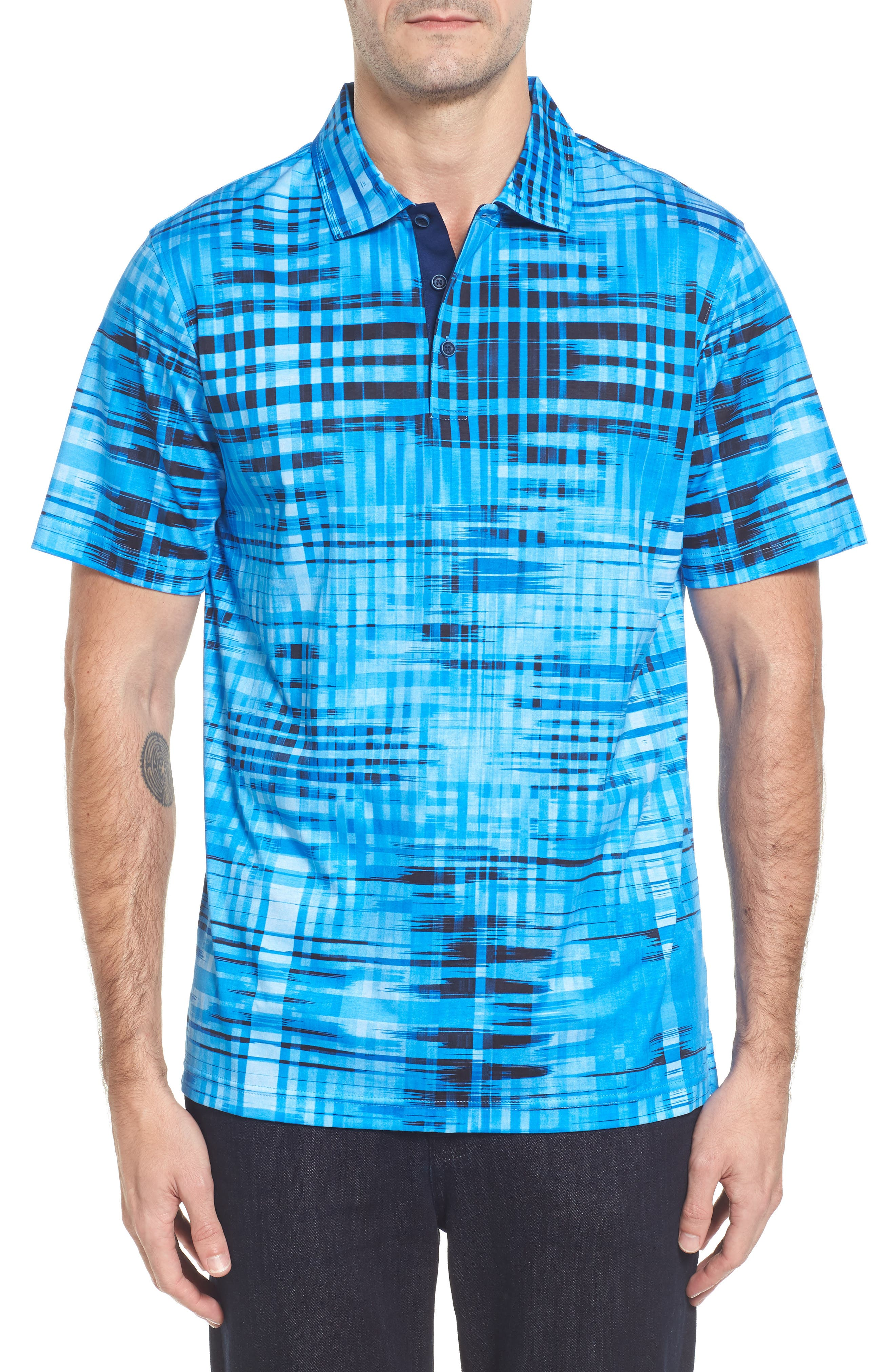 Classic Fit Print Polo,                         Main,                         color, Classic Blue