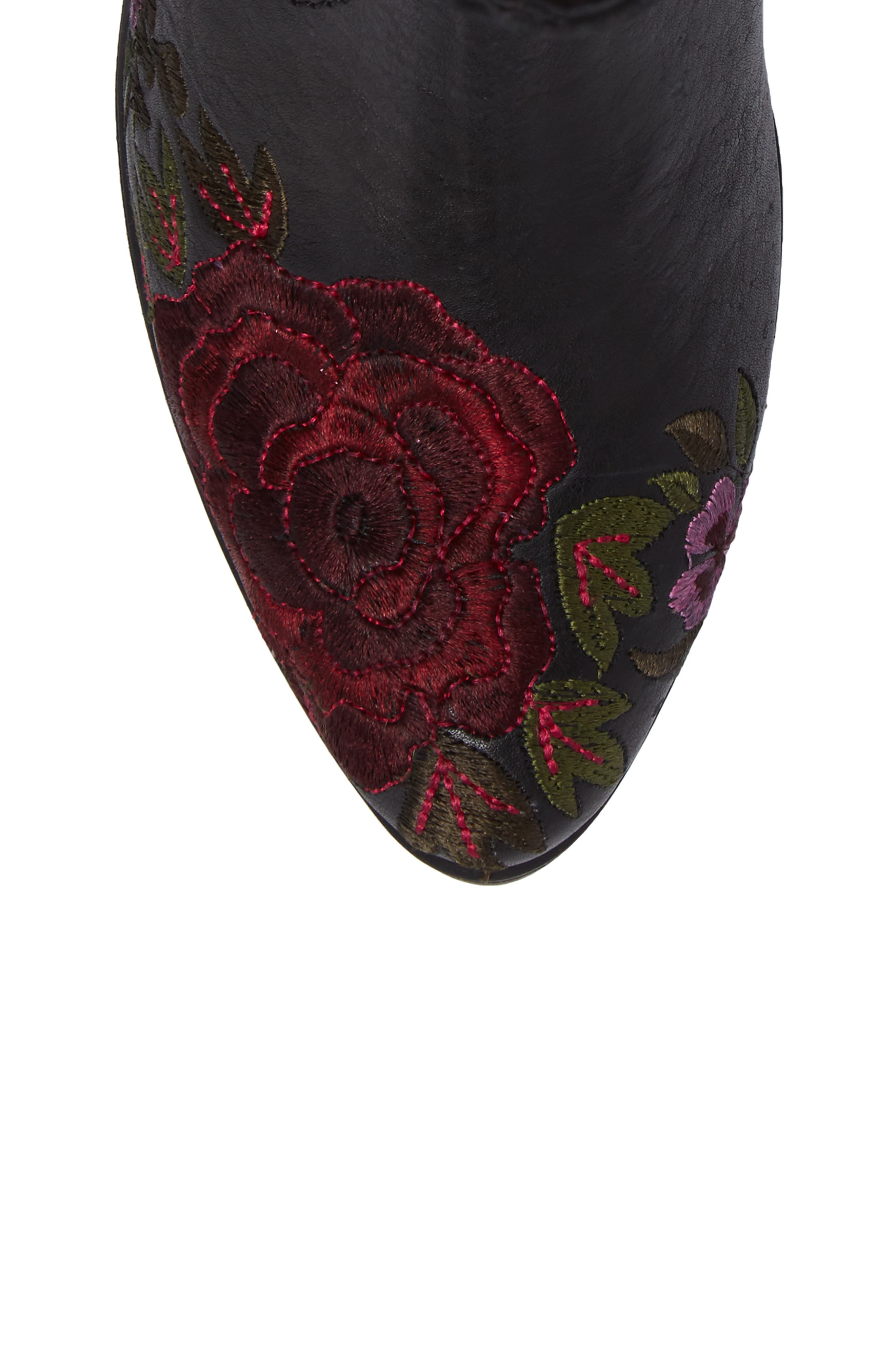 Shallot Floral Embroidered Bootie,                             Alternate thumbnail 5, color,                             Black Leather