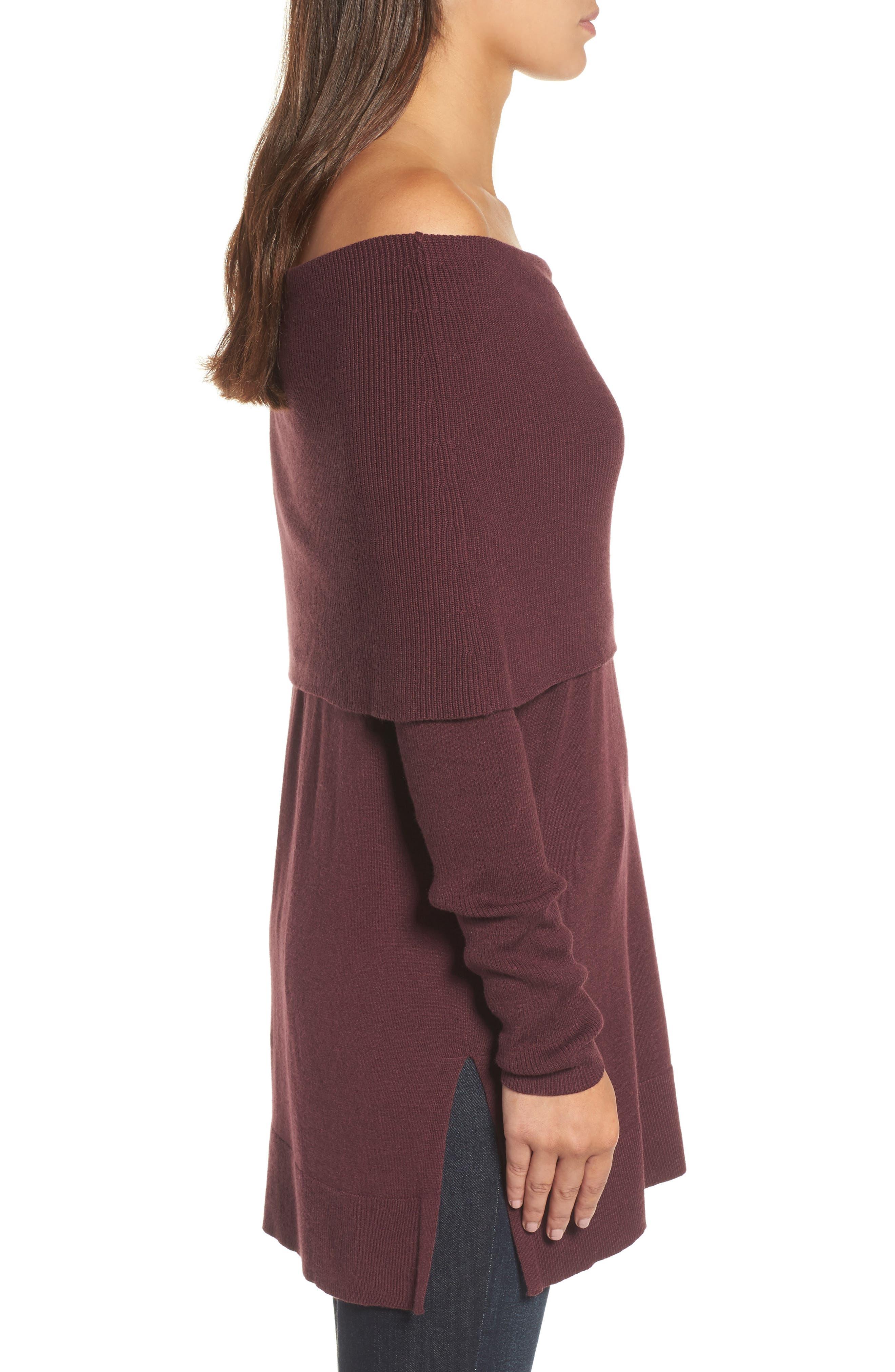 Alternate Image 3  - Caslon® Side Slit Cowl Neck Tunic (Regular & Petite)