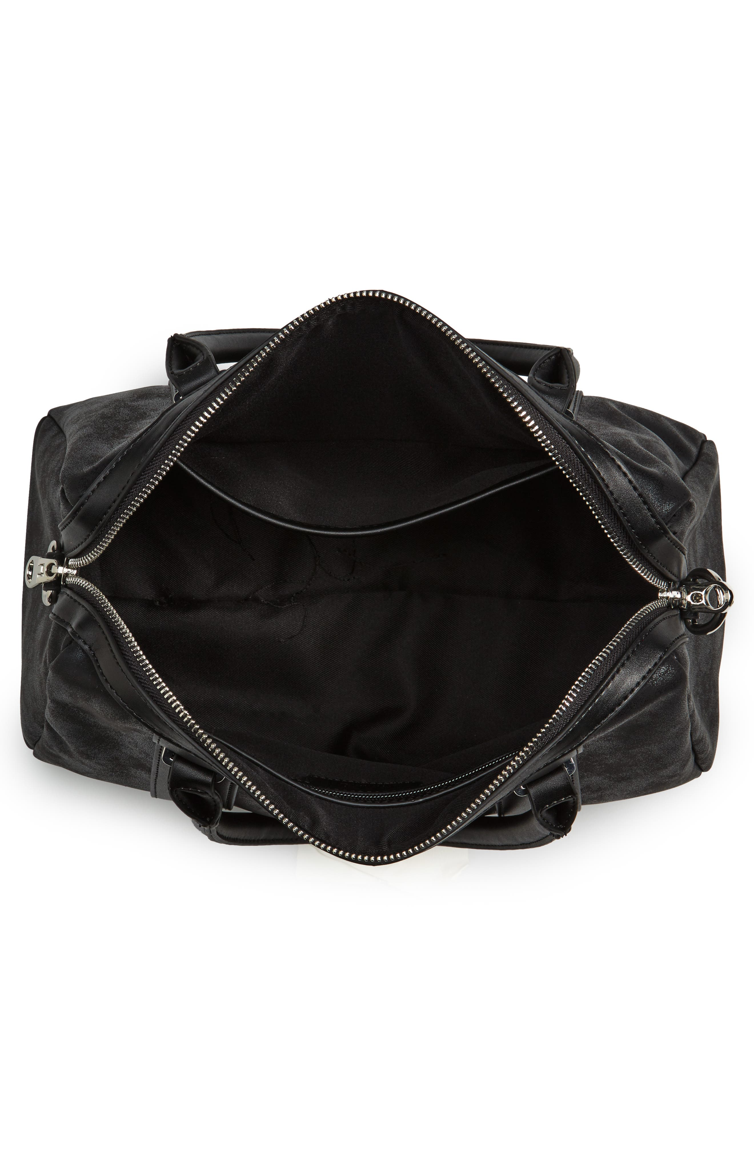 Karlie Faux Leather Satchel,                             Alternate thumbnail 4, color,                             Black