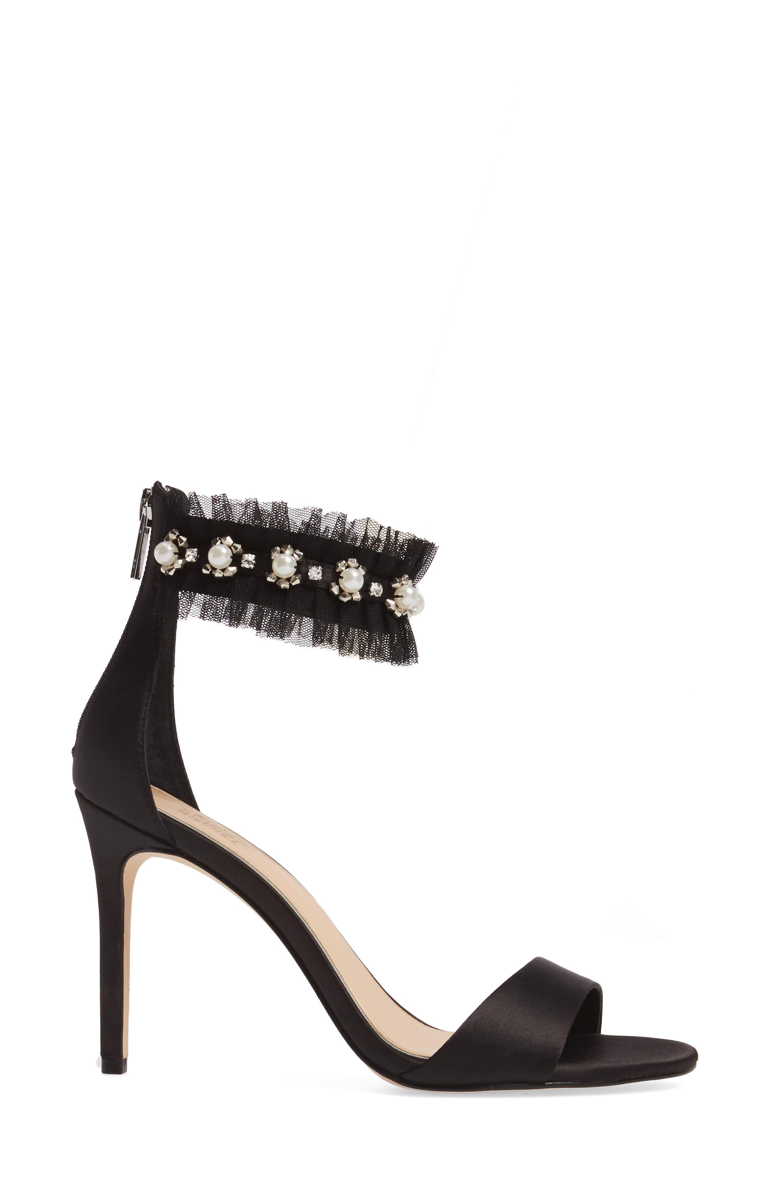 Abagail Embellished Ankle Strap Sandal,                             Alternate thumbnail 3, color,                             Black Satin