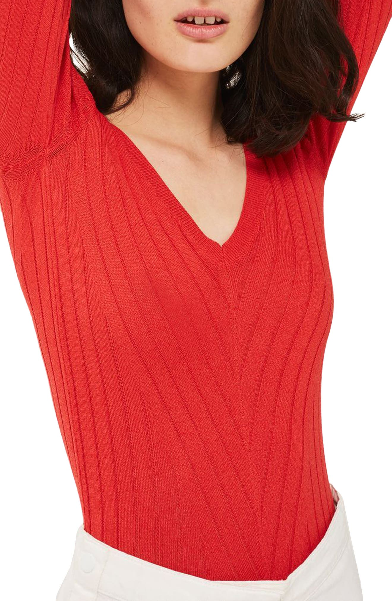 Wide Double V-Neck Ribbed Knit Top,                         Main,                         color, Red