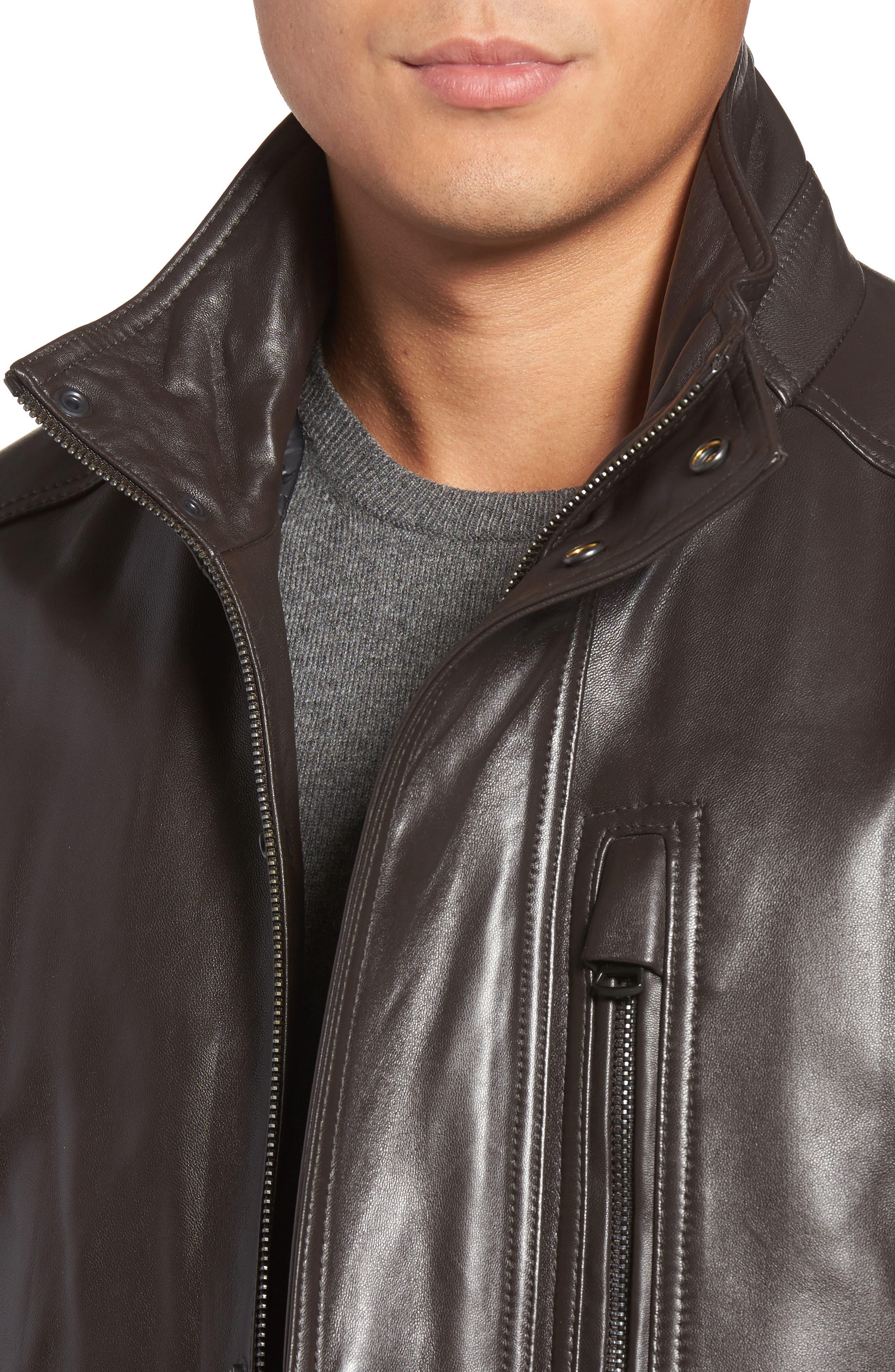 Alternate Image 4  - Marc New York Middlebury Leather Car Coat with Genuine Rabbit Fur Trim