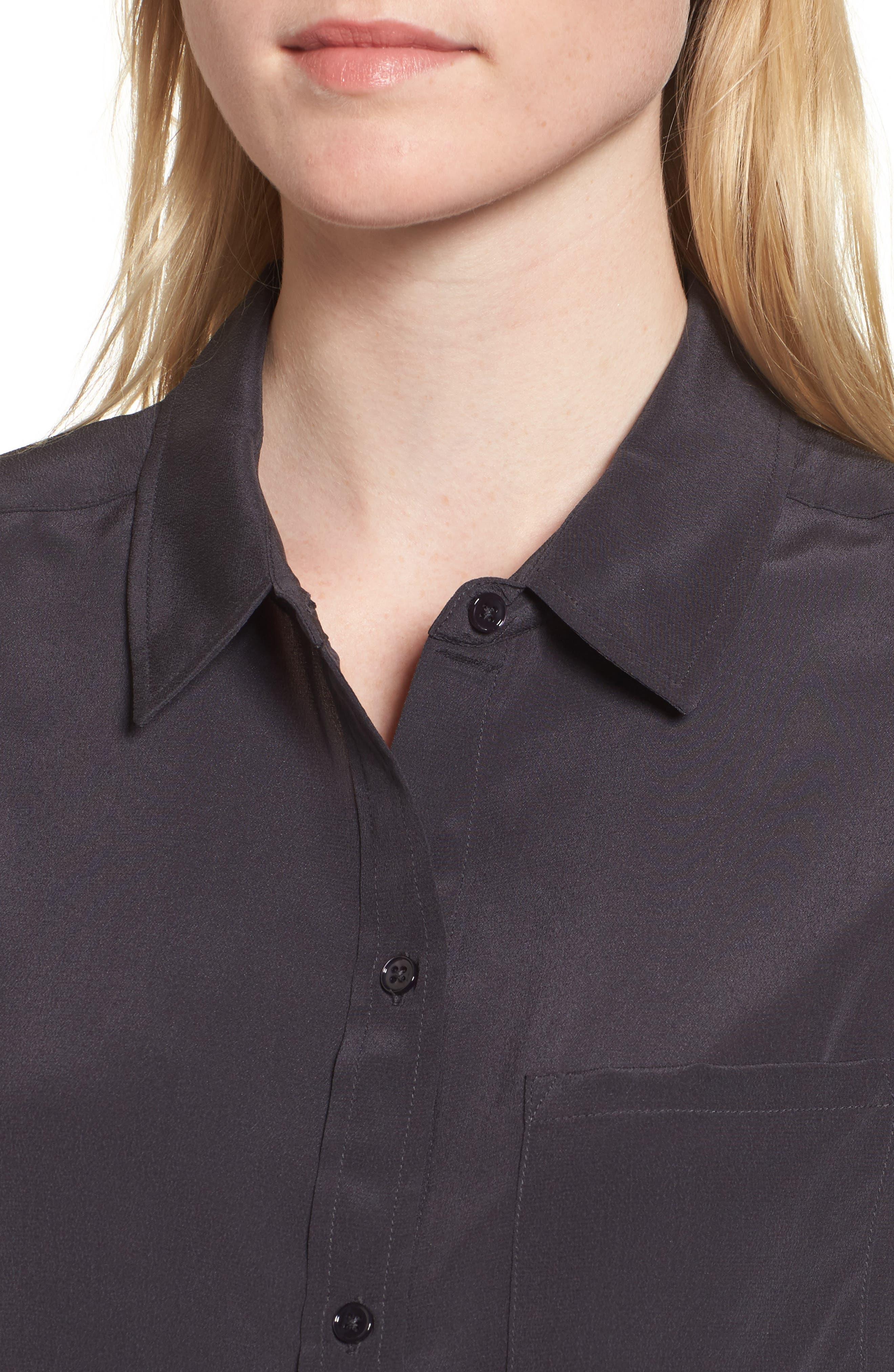 Kate Silk Shirt,                             Alternate thumbnail 4, color,                             Charcoal