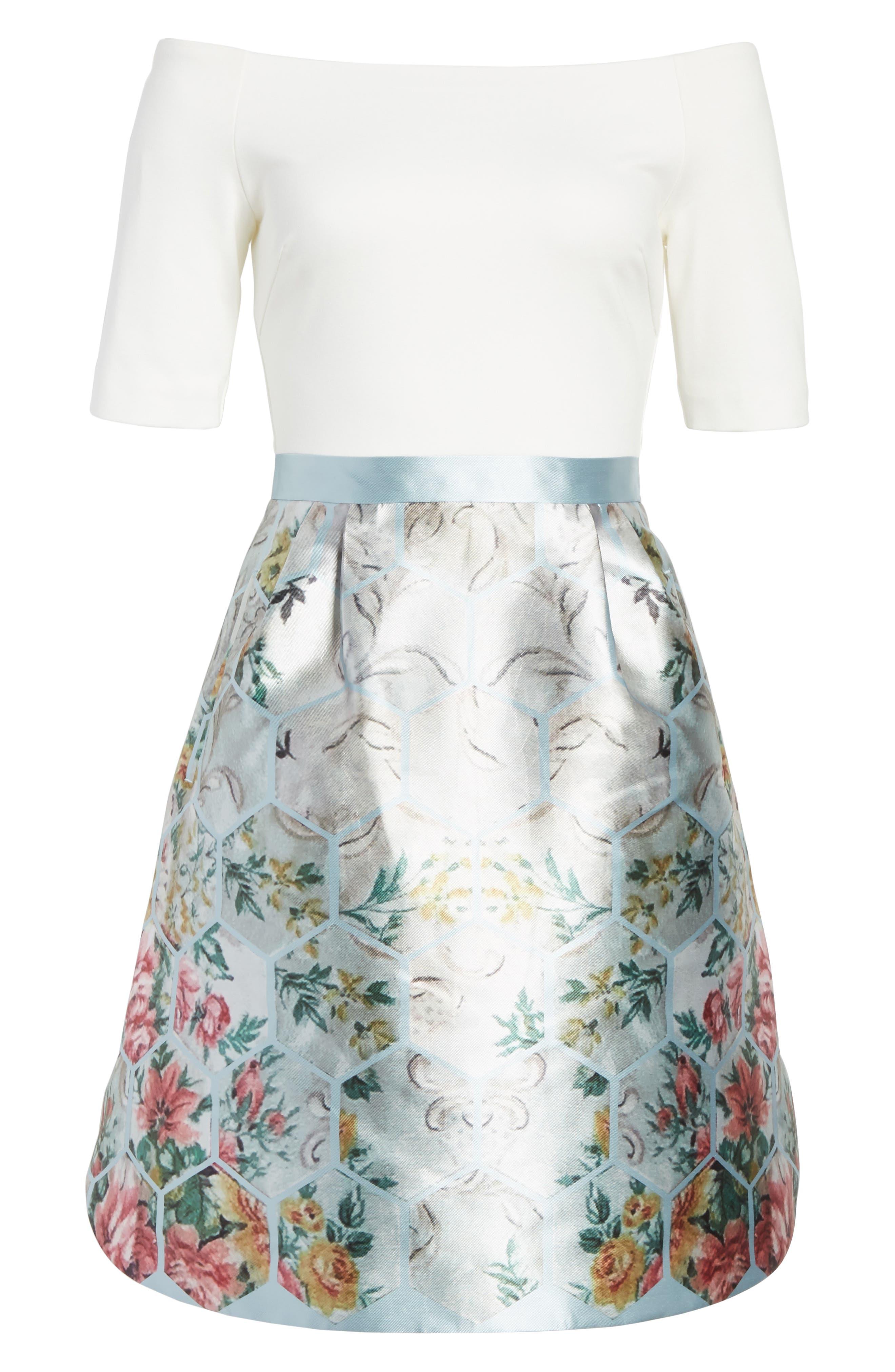 Dewrose Patchwork A-line Dress,                             Alternate thumbnail 6, color,                             Pale Blue