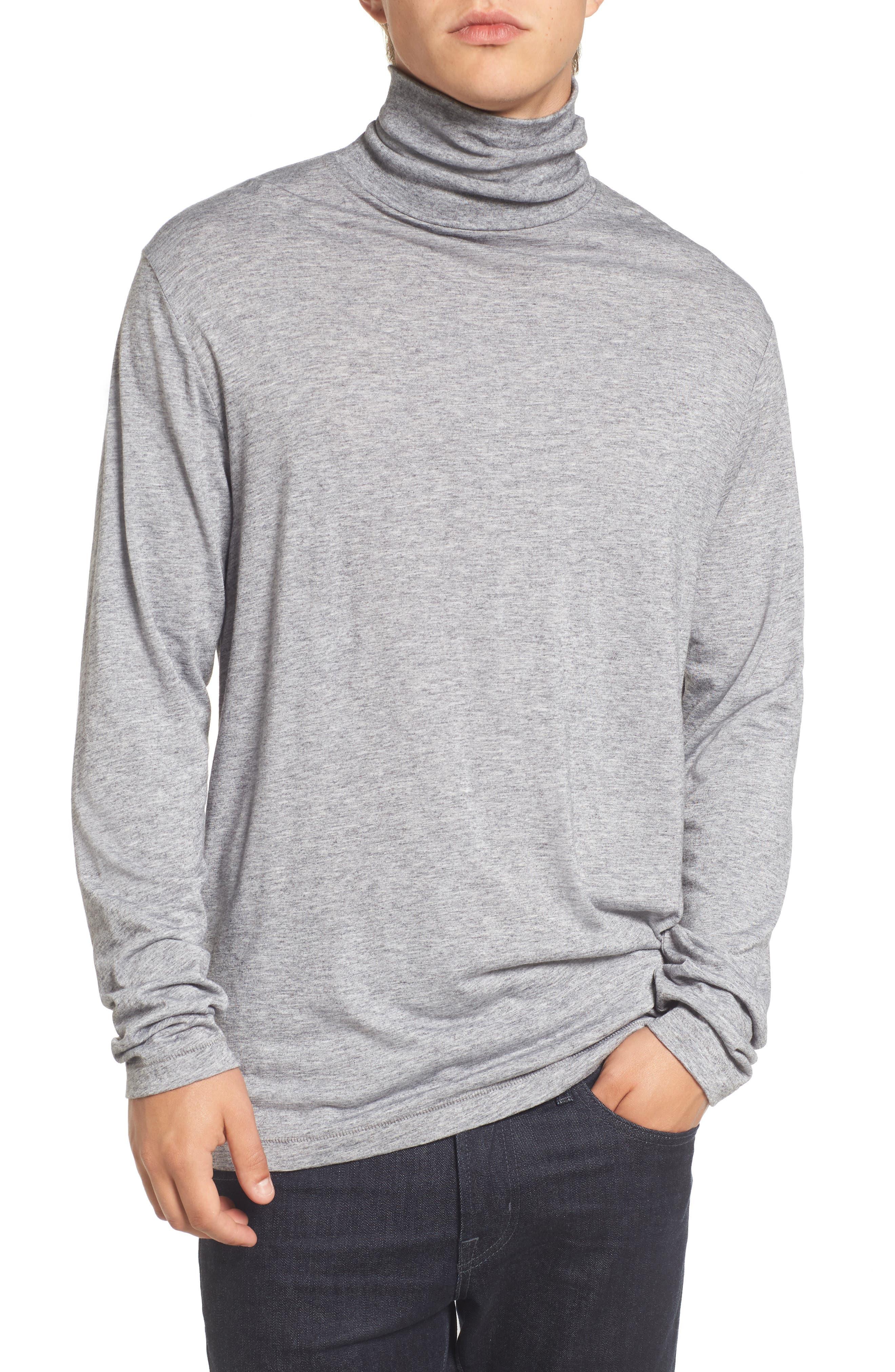 Lightweight Turtleneck Sweater,                             Main thumbnail 1, color,                             Grey Melange