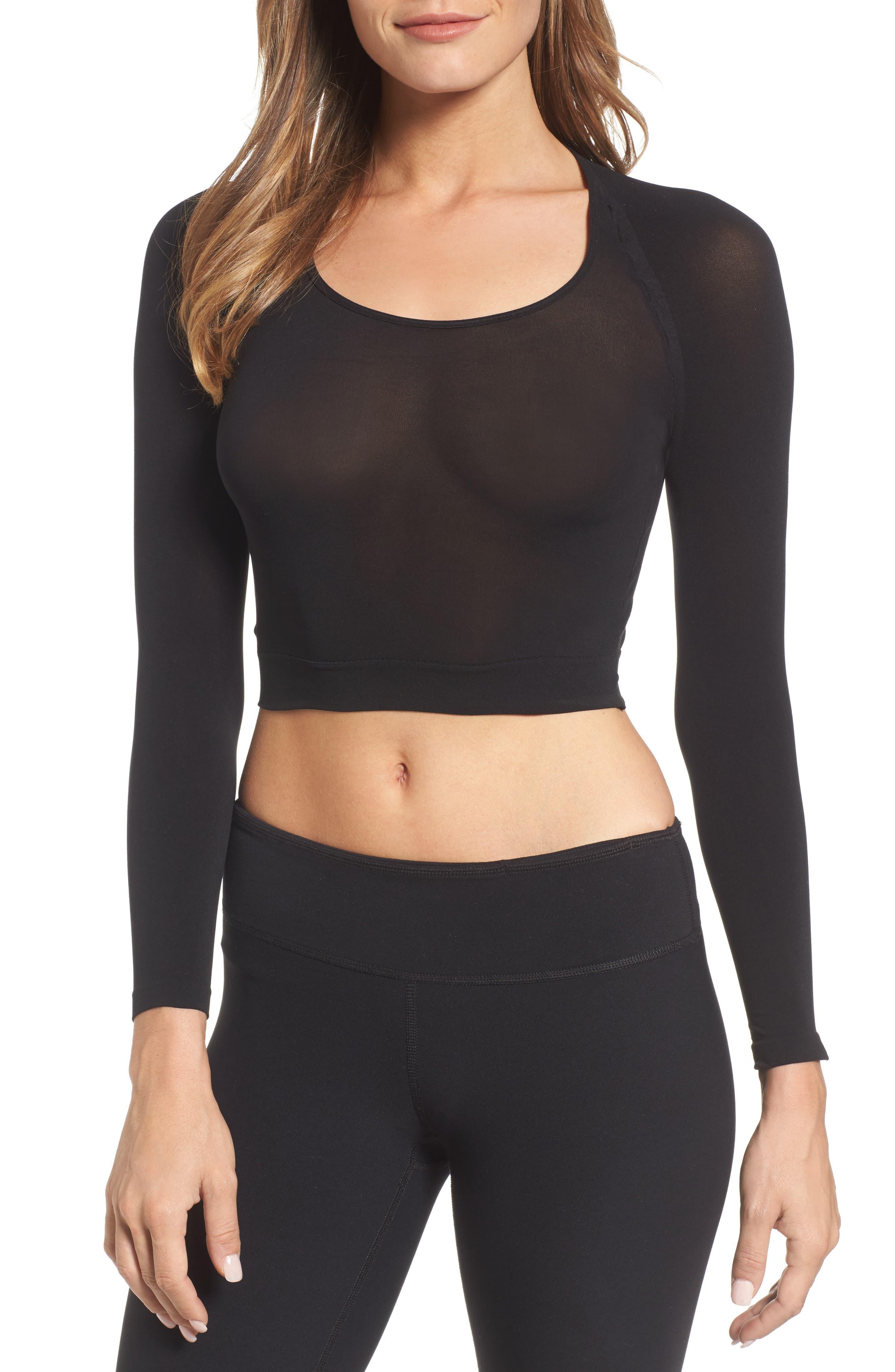 Arm Tights Crop Top,                         Main,                         color, Very Black