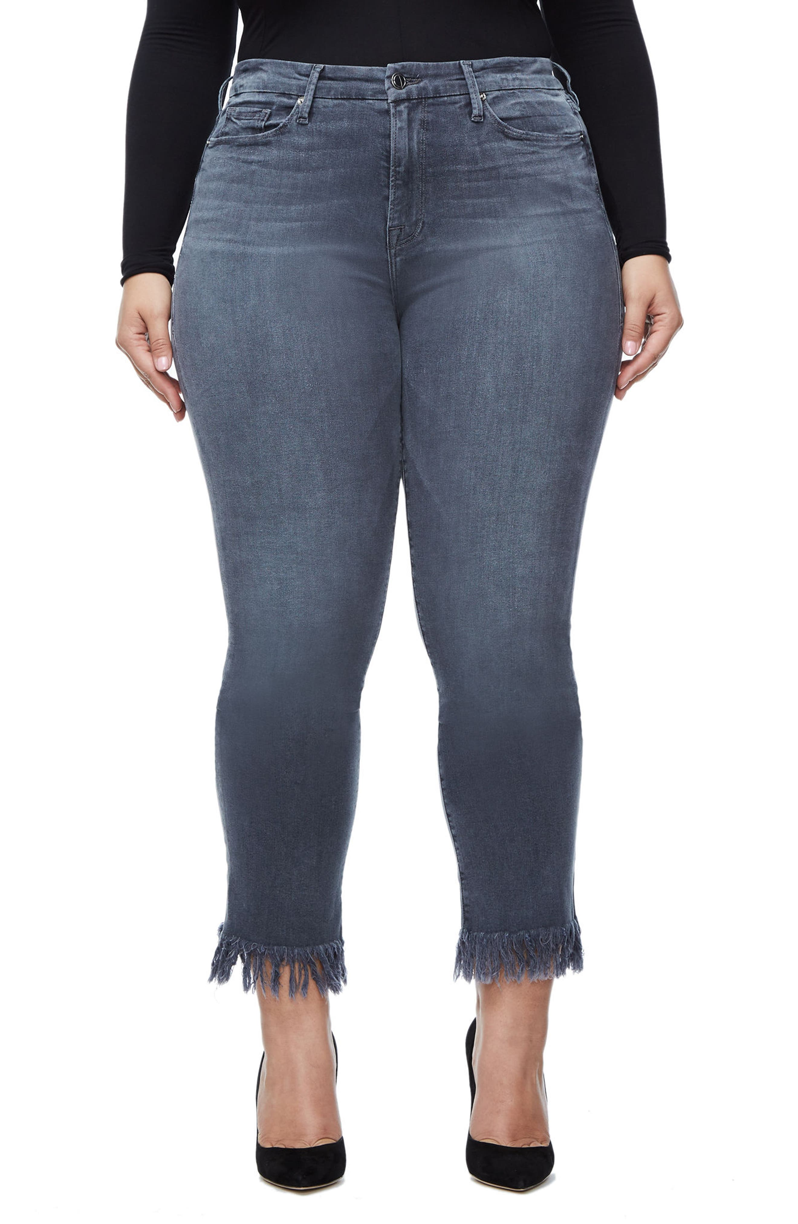 Alternate Image 9  - Good American Good Straight Crop Straight Leg Jeans (Grey 001) (Extended Sizes)