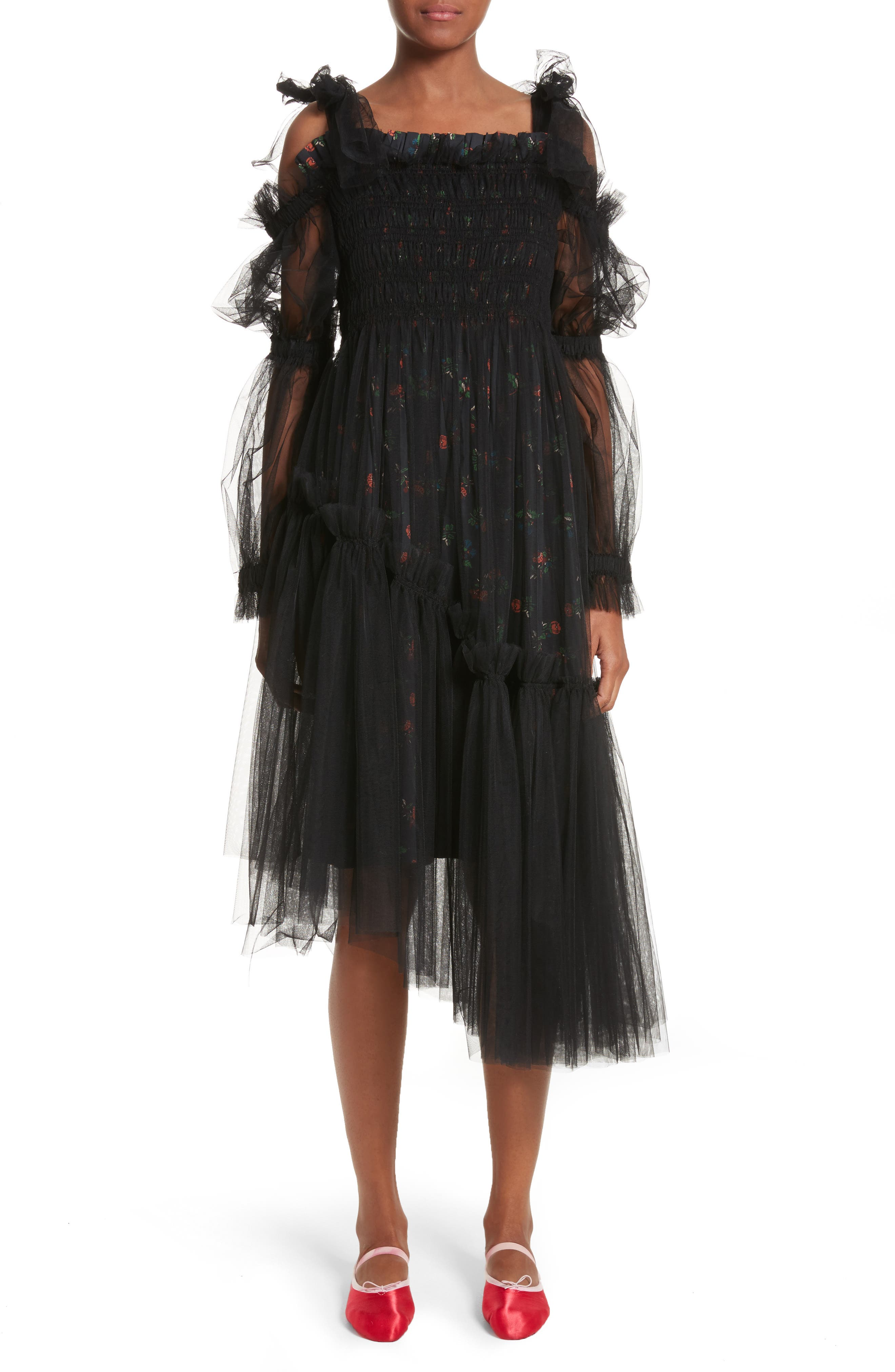 Ruby Tulle Floral Dress,                             Main thumbnail 1, color,                             Black