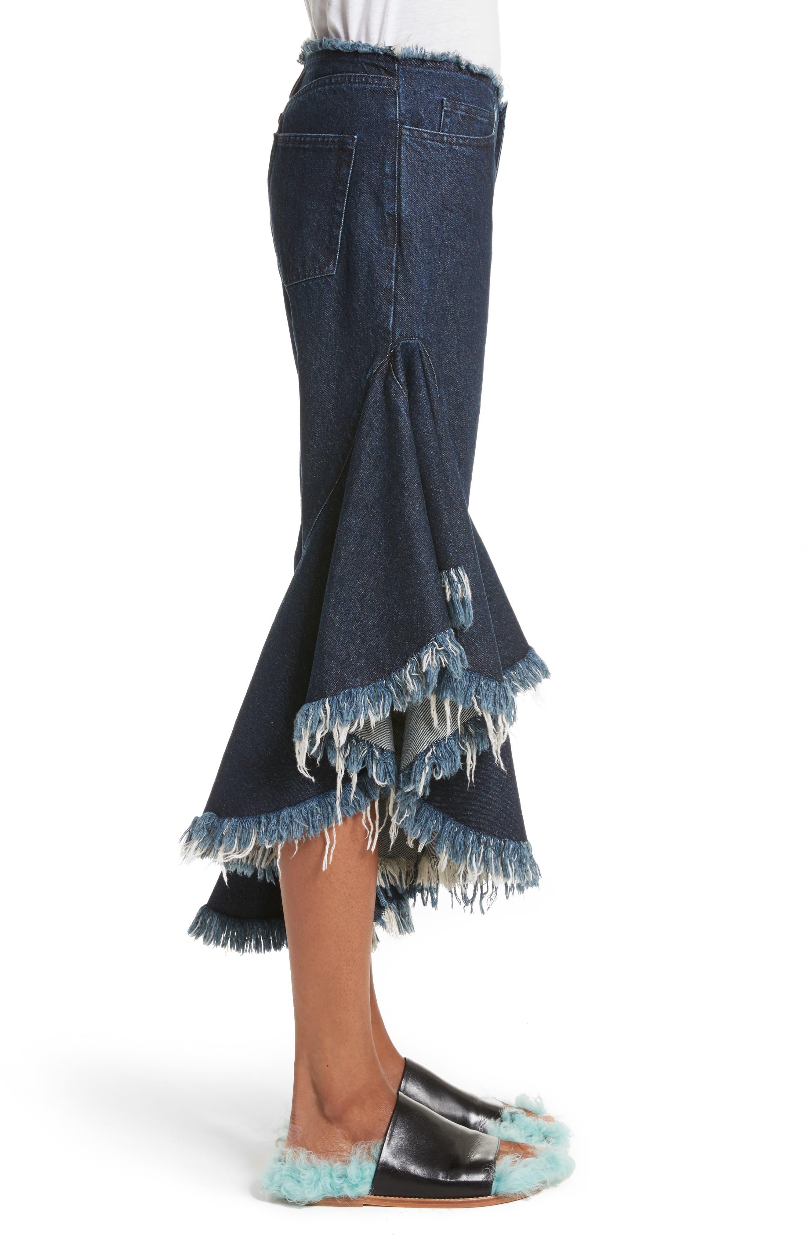 Marques'Almeida Frill Flare Crop Jeans,                             Alternate thumbnail 4, color,                             Indigo