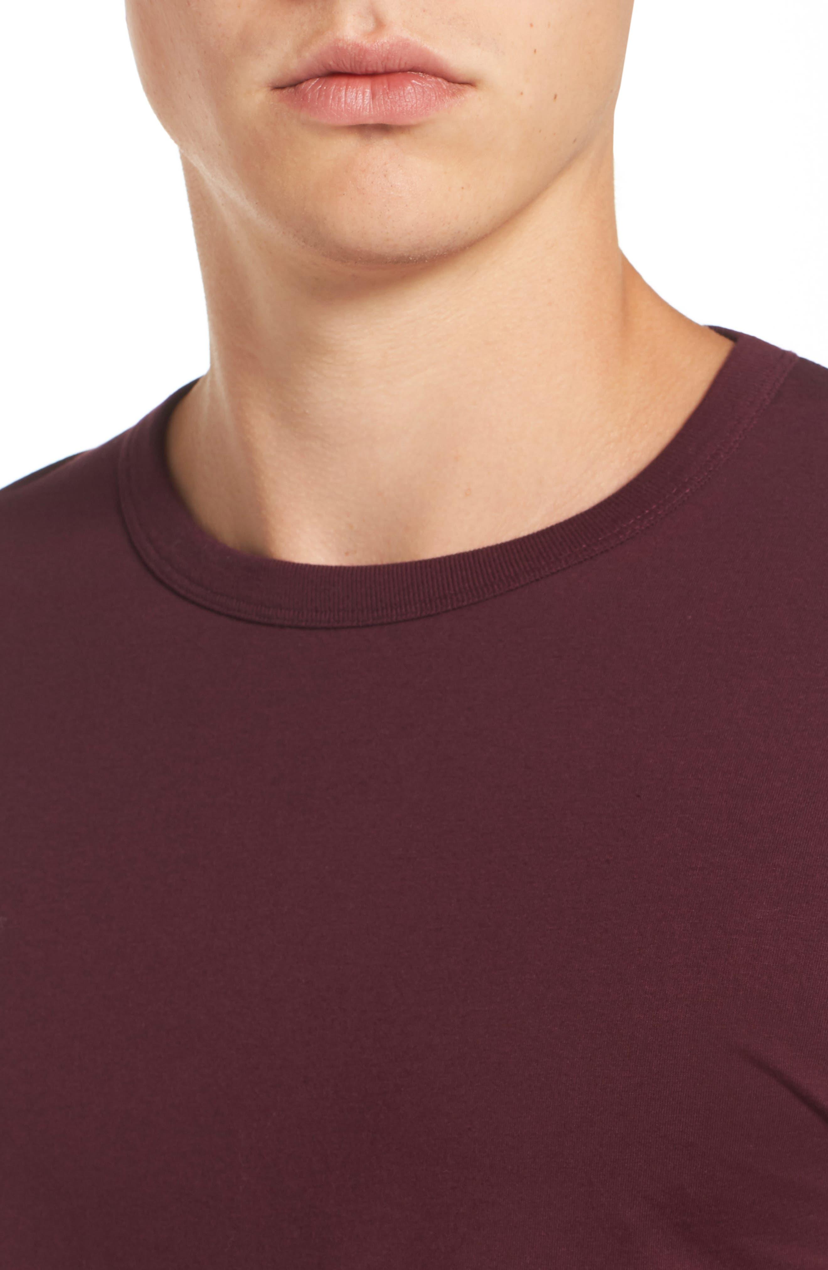 Slim Fit Crewneck T-Shirt,                             Alternate thumbnail 4, color,                             Bordeaux