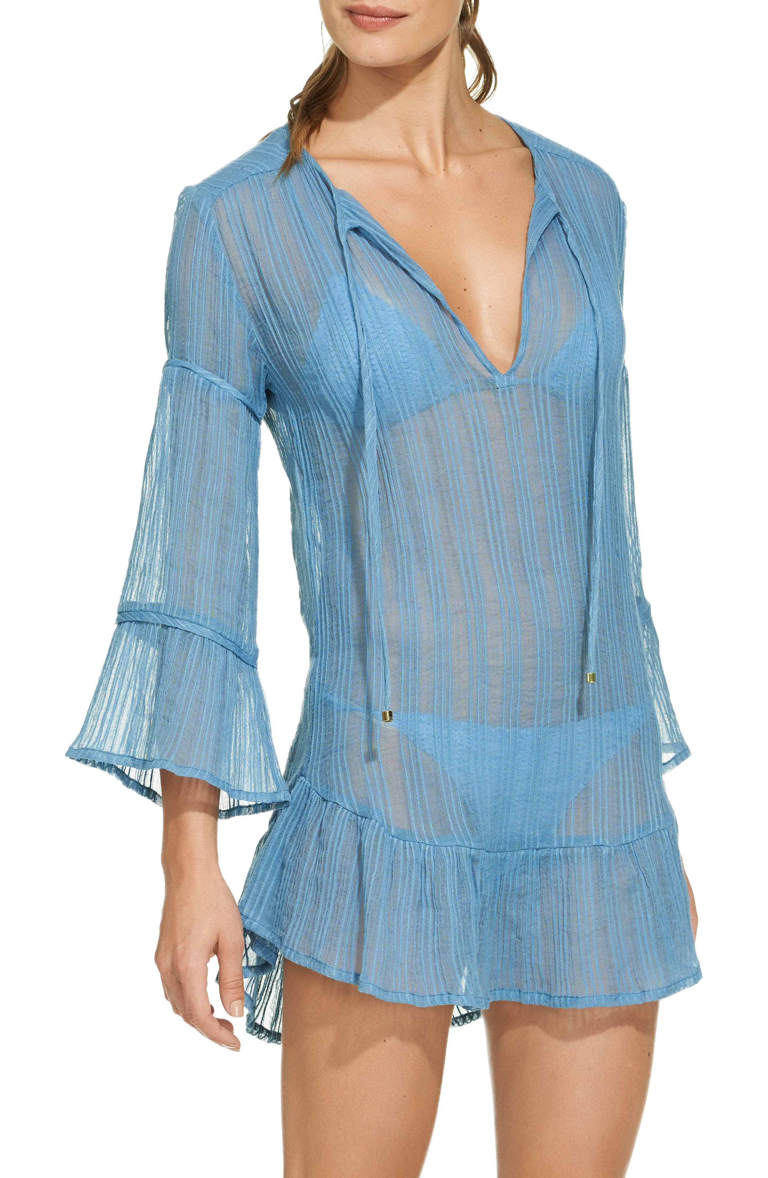 Ruffle Cloud Cover-Up Tunic,                         Main,                         color, Blue