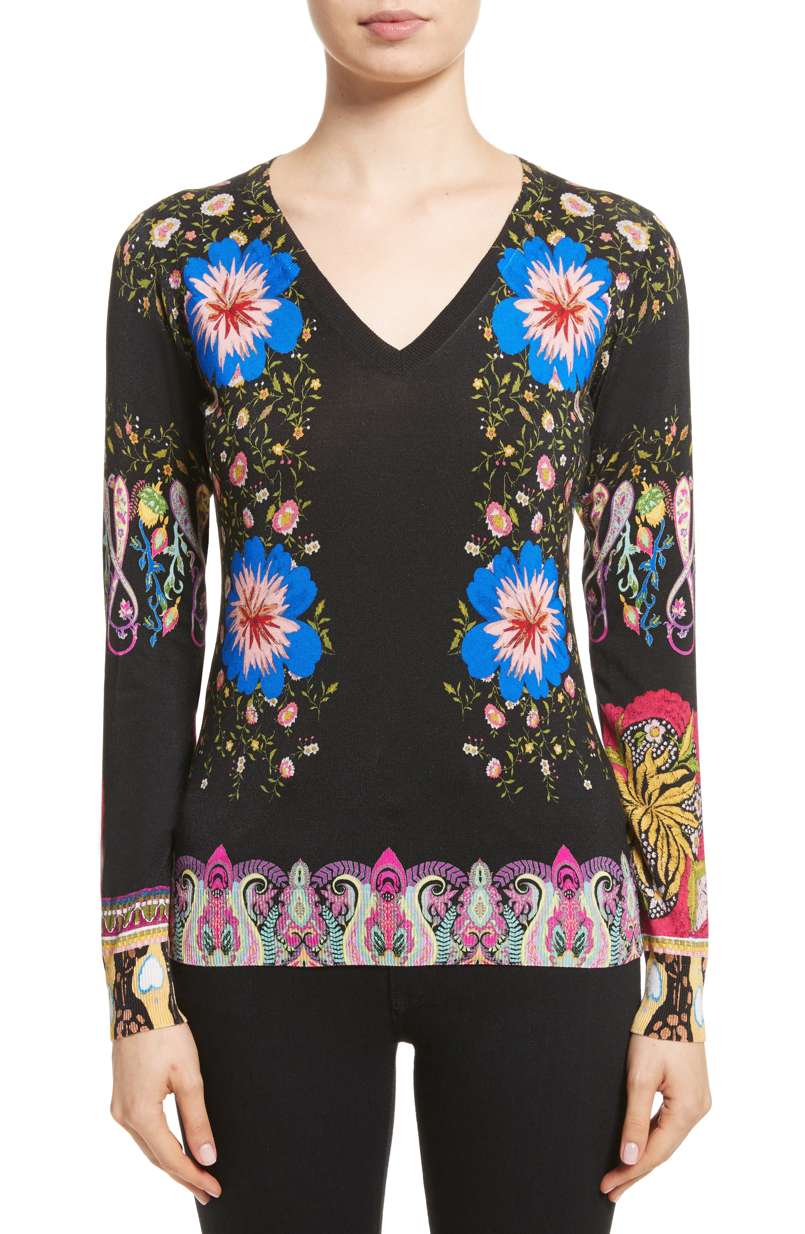 Floral Paisley Stretch Silk Sweater,                         Main,                         color, Black