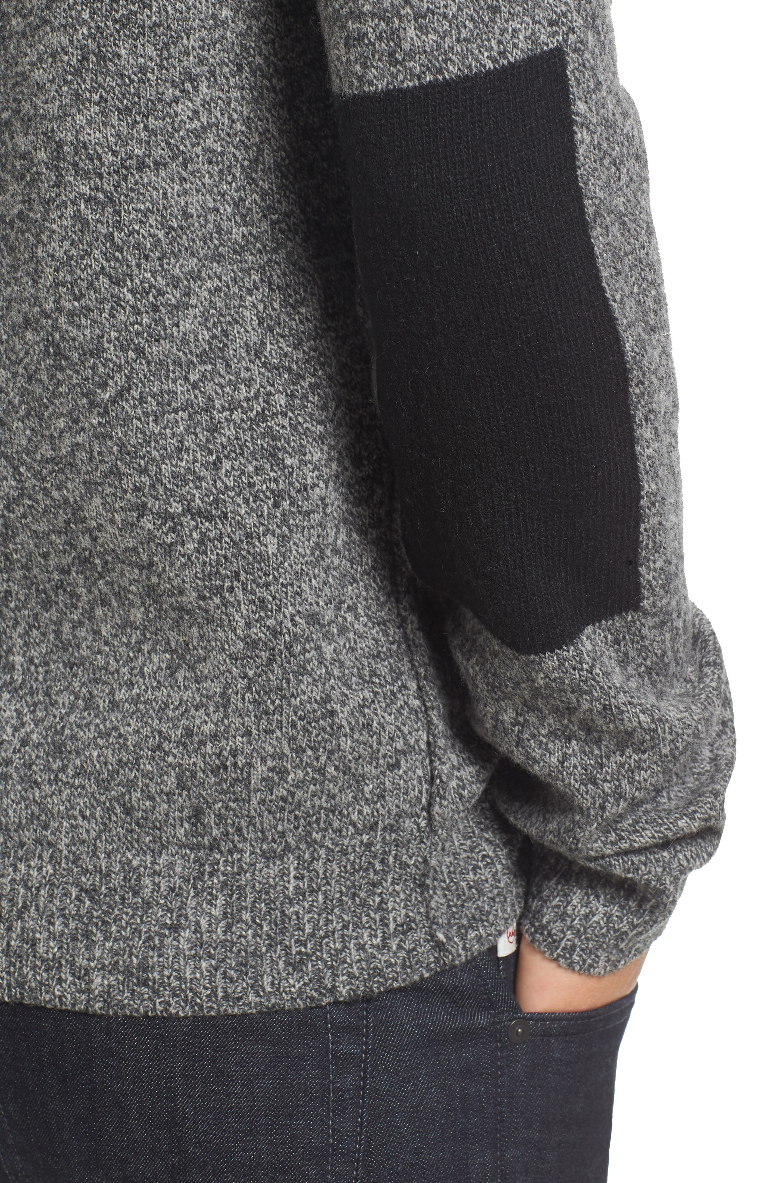 Elbow Patch Sweater,                             Alternate thumbnail 4, color,                             Charcoal Twist/ Black