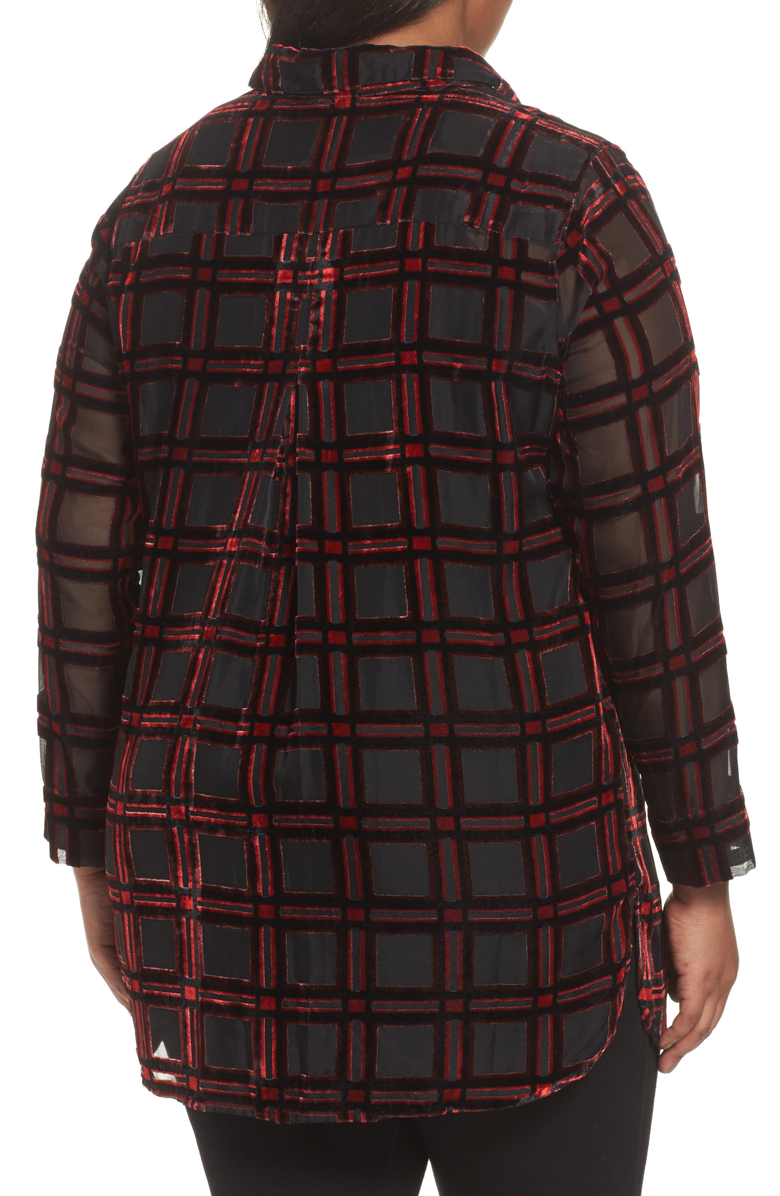 Alternate Image 2  - Foxcroft Jade Burnout Tartan Shirt (Plus Size)
