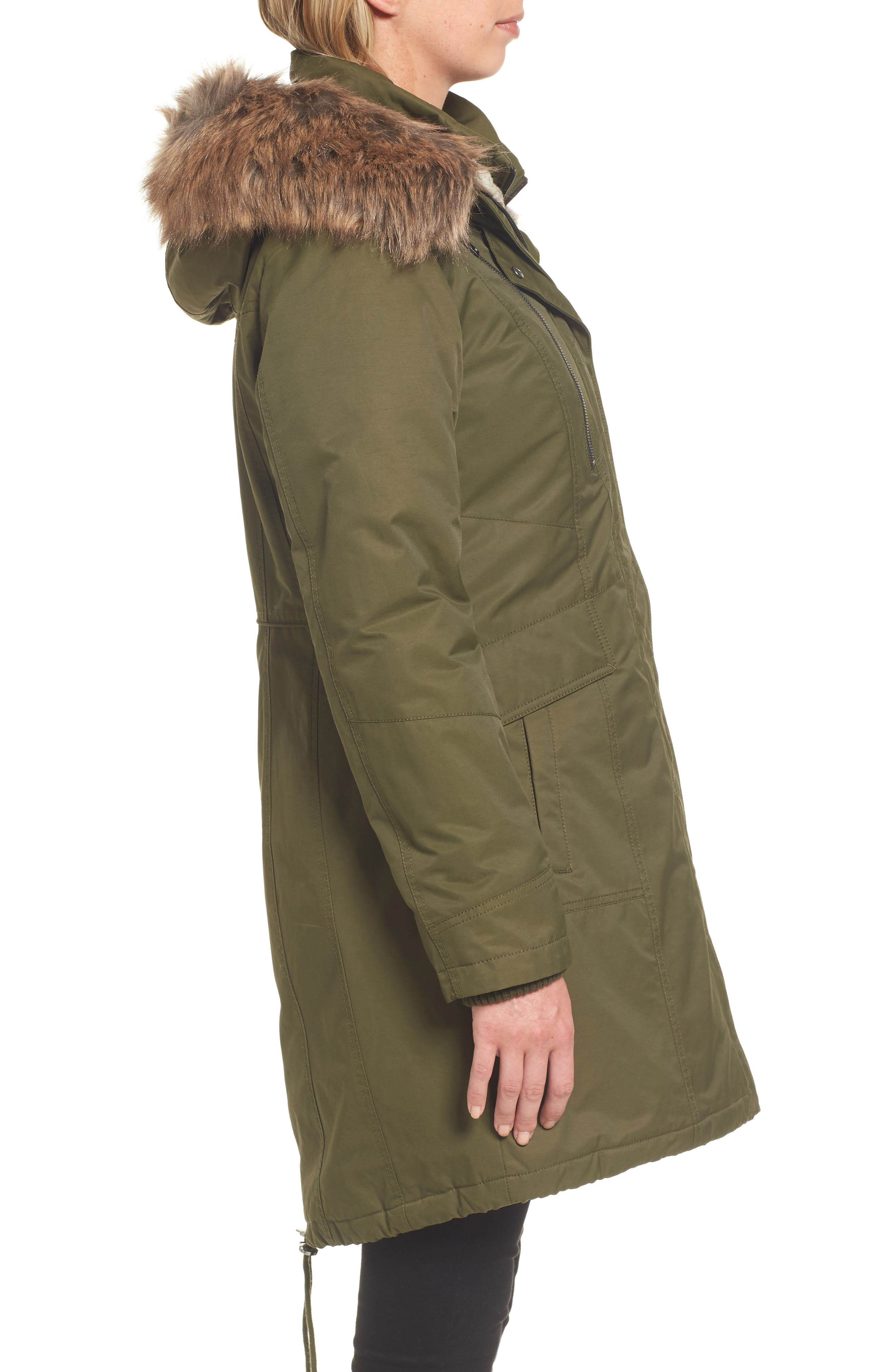 Insulated Parka with Faux Fur Trim,                             Alternate thumbnail 3, color,                             Olive