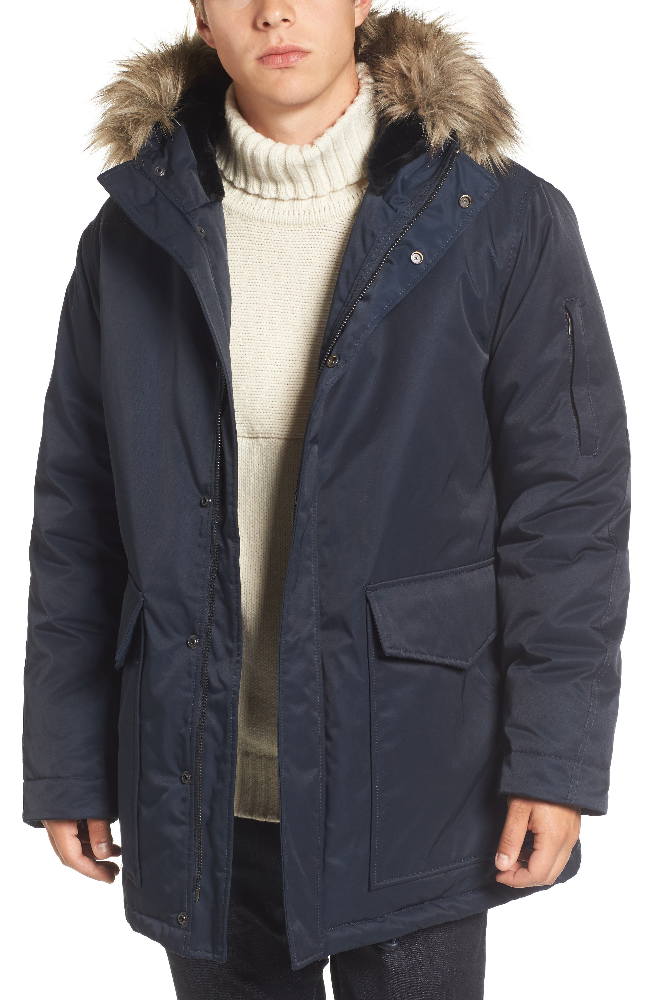 French Connection Bystander Hooded Parka with Faux Fur Trim