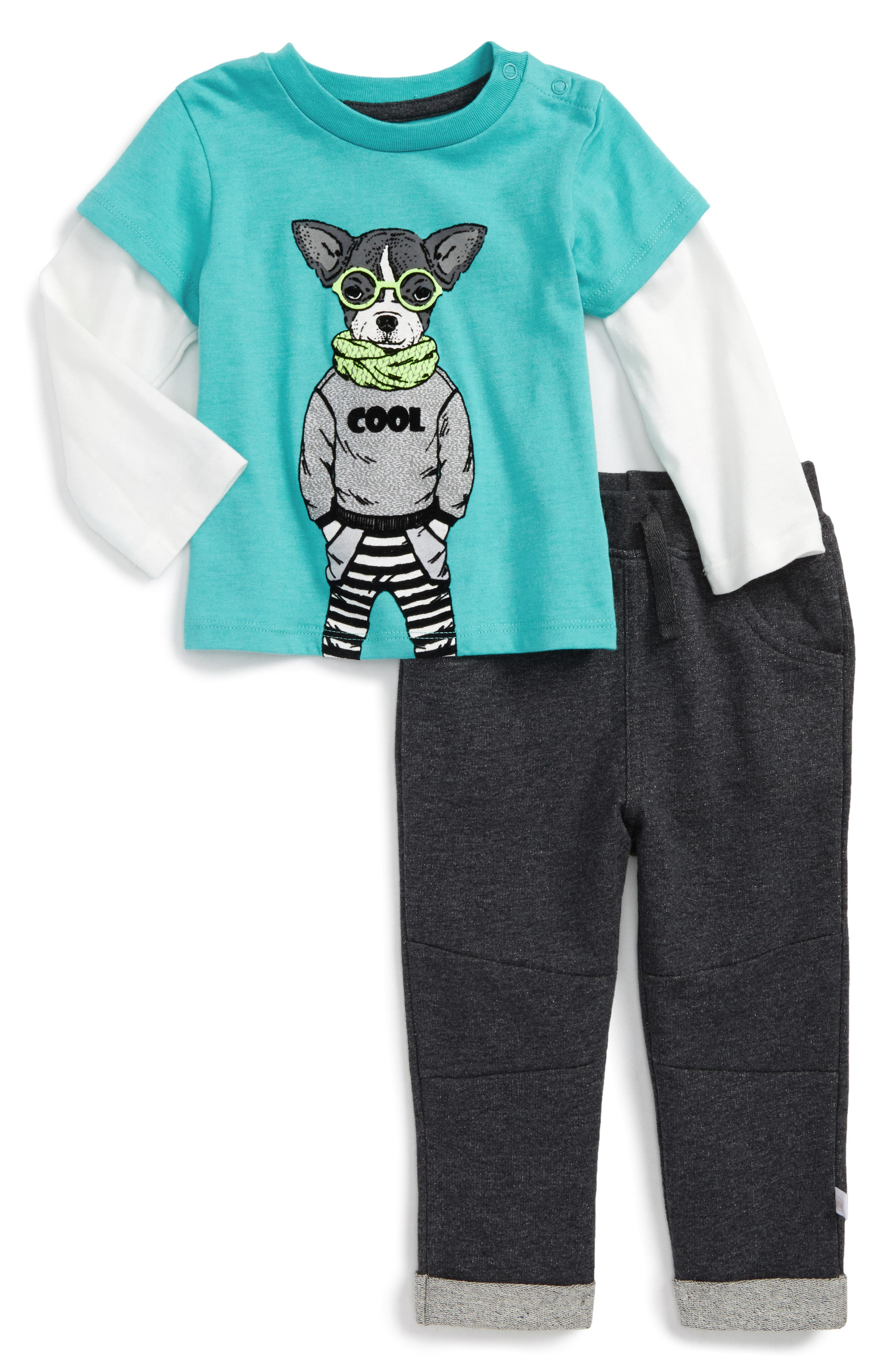 Alternate Image 1 Selected - Rosie Pope Nerdy Layered Shirt & Sweatpants Set (Baby Boys)