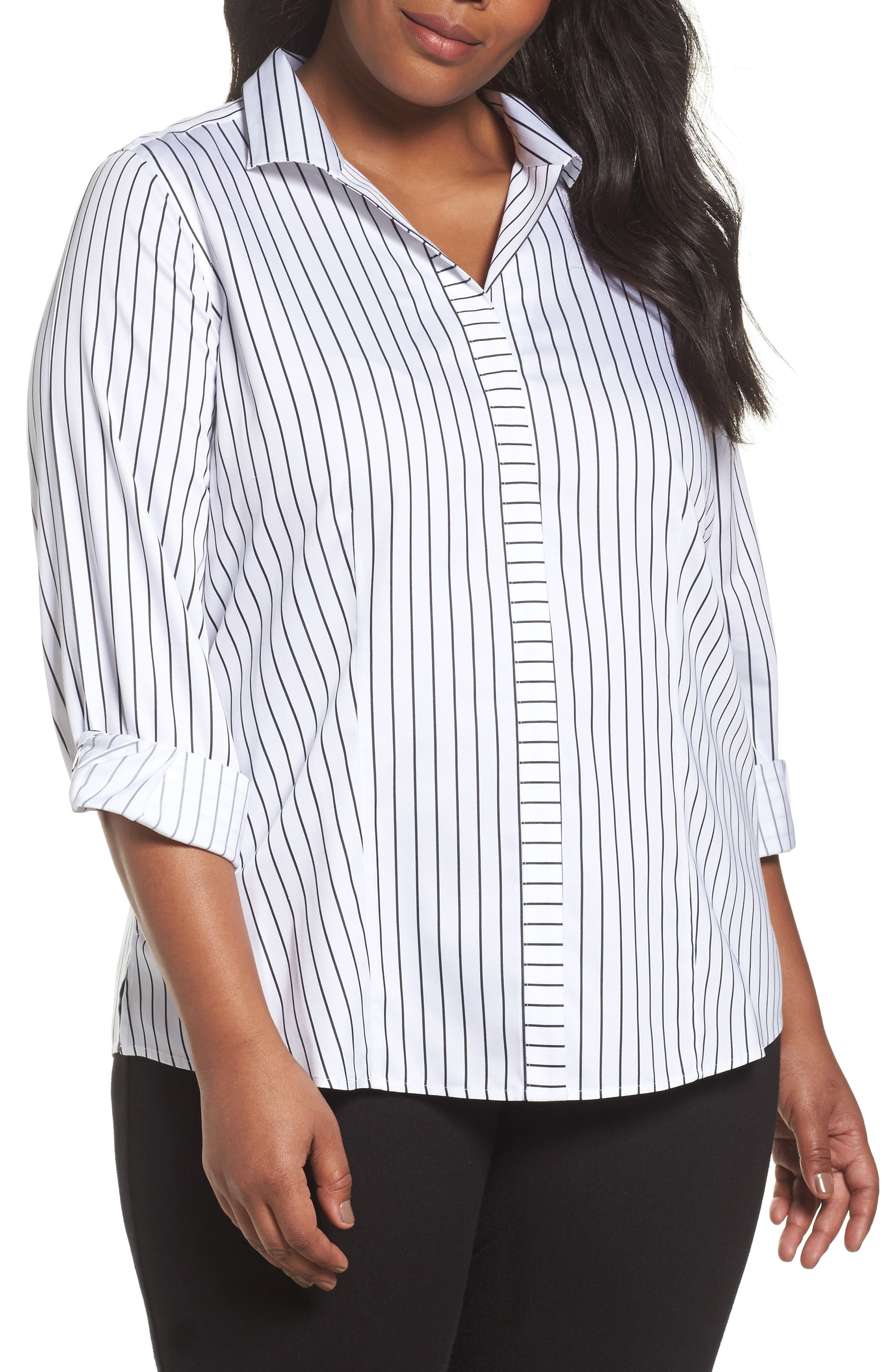 Alternate Image 1 Selected - Foxcroft Annie Holiday Stripe Shirt (Plus Size)