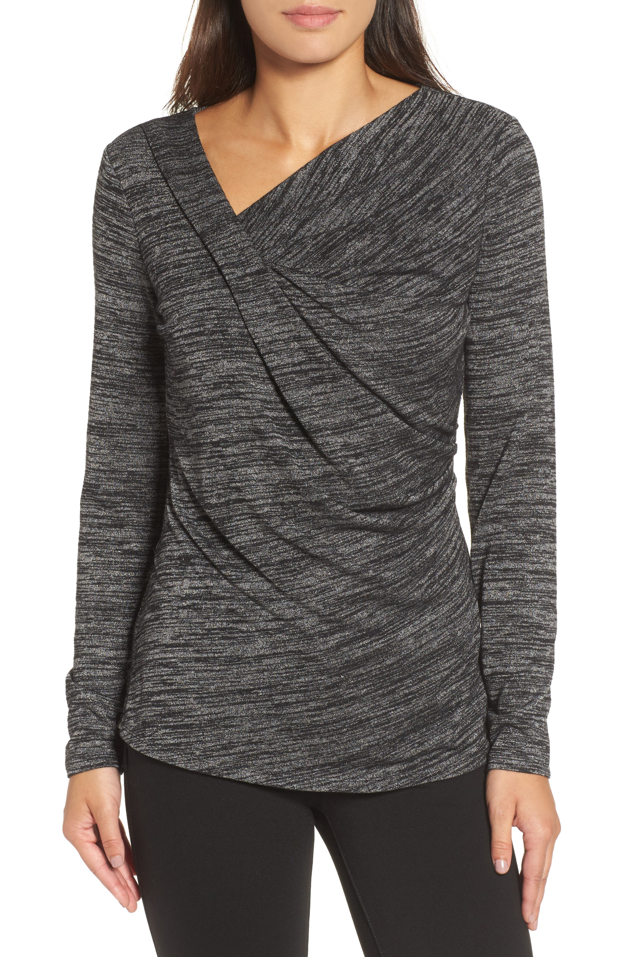 Every Occasion Drape Top,                         Main,                         color, Grey Mix