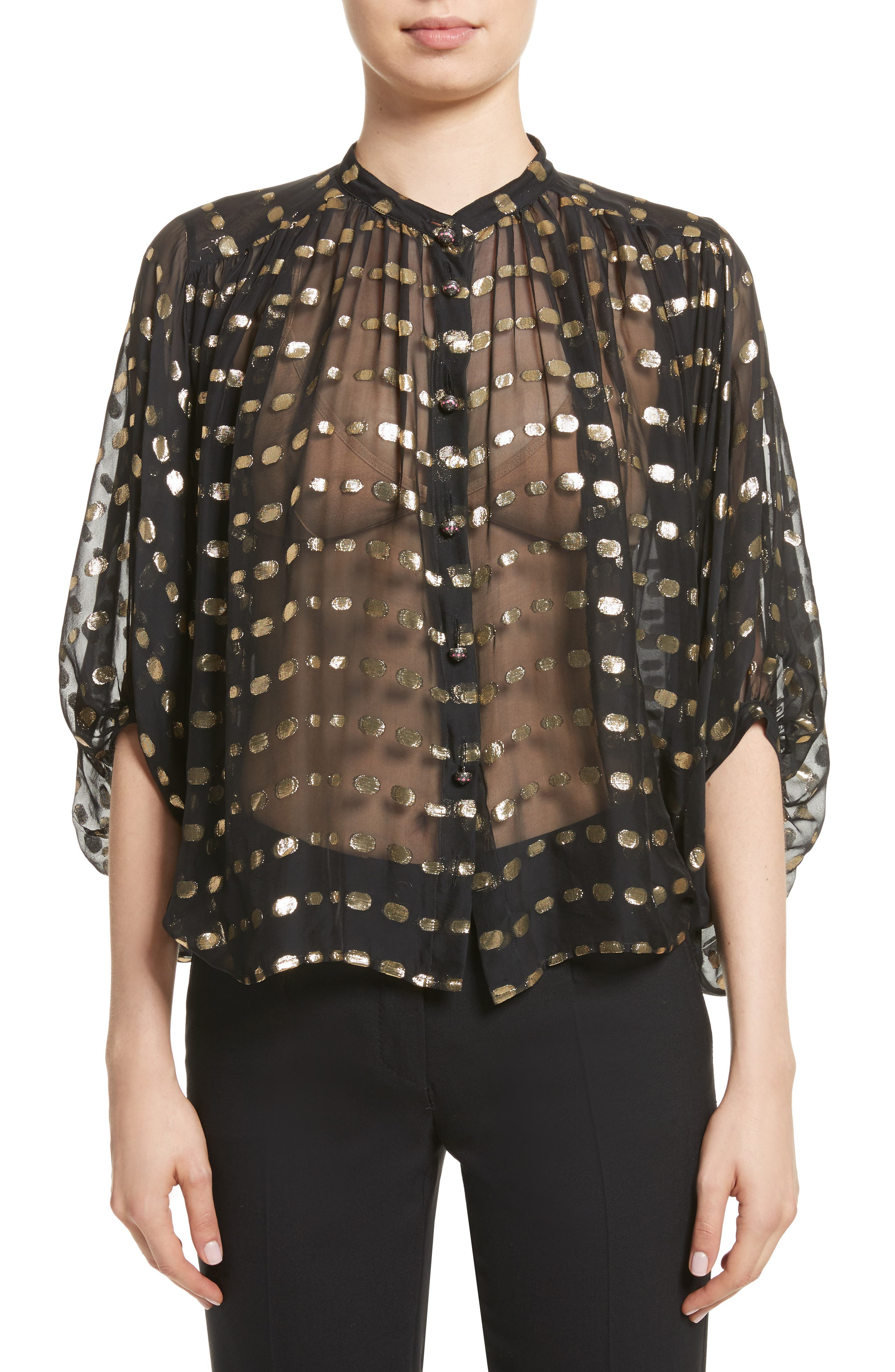 Etro Metallic Dot Sheer Blouse