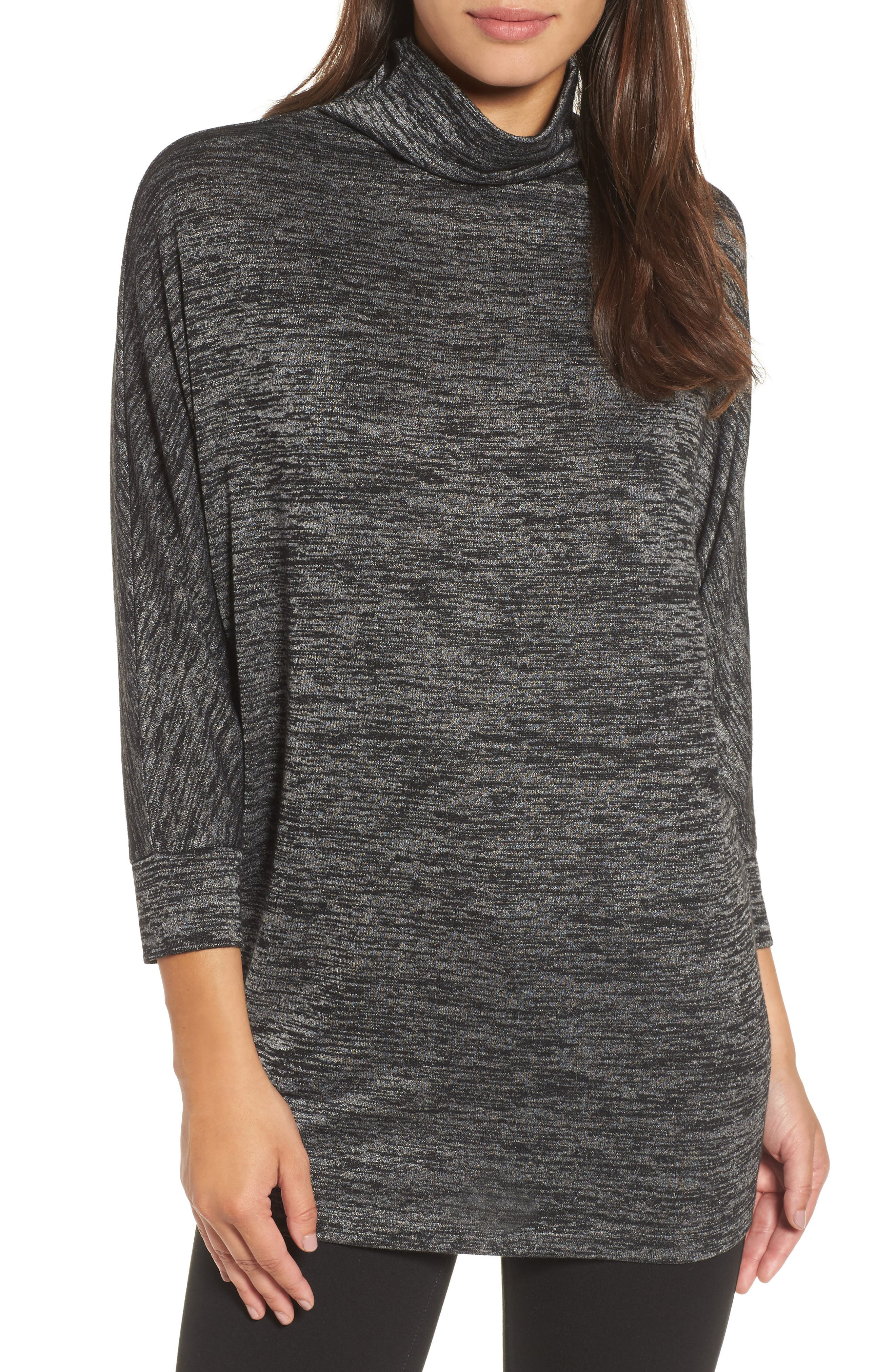 Every Occasion Mockneck Top,                         Main,                         color, Grey Mix