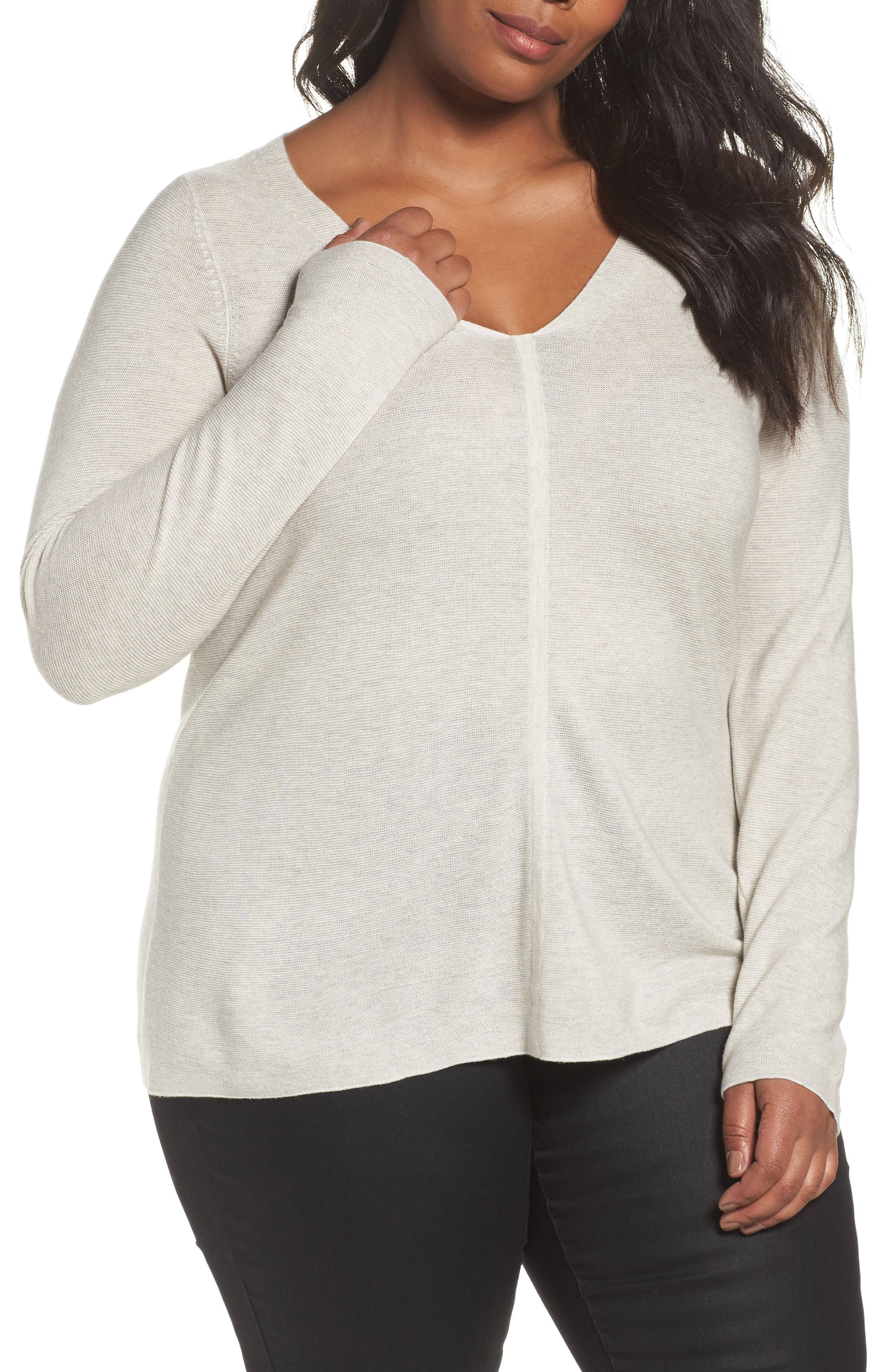 V-Neck Sweater,                             Main thumbnail 1, color,                             Pearl